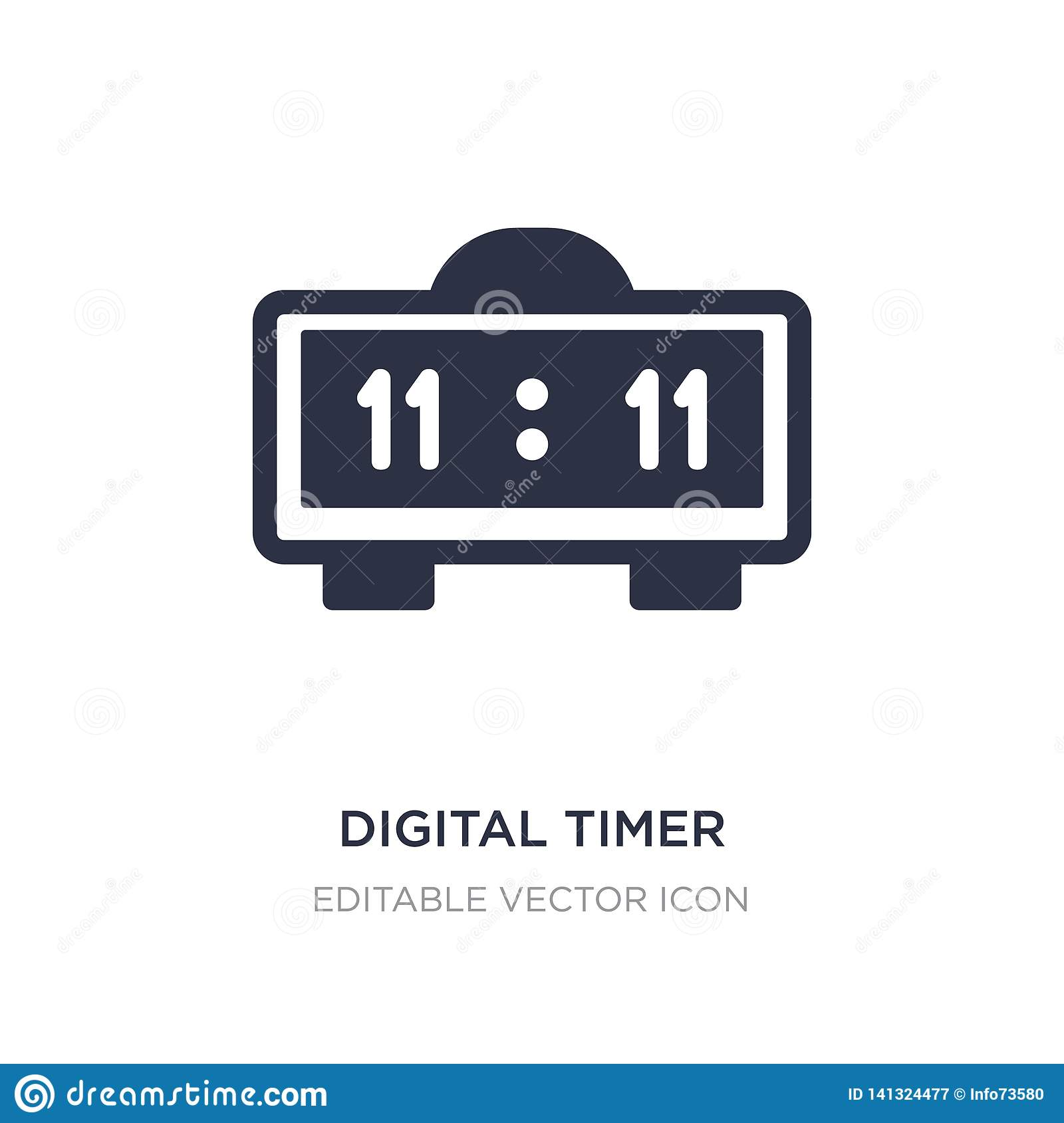 Digital Timer Icon On White Background  Simple Element
