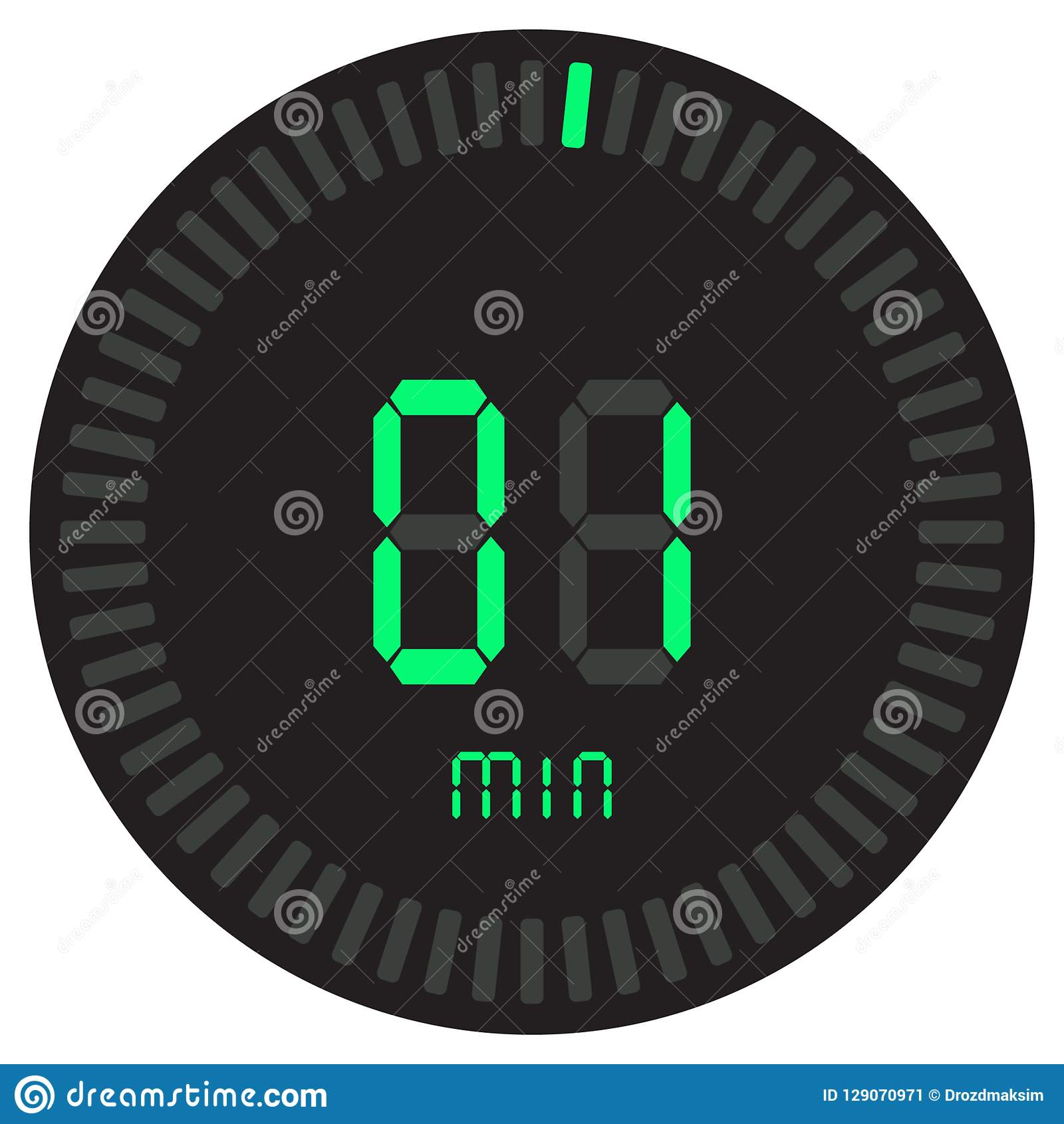 The digital timer 1 minute. electronic stopwatch with a gradient dial starting vector icon, clock and watch, timer, countdown.