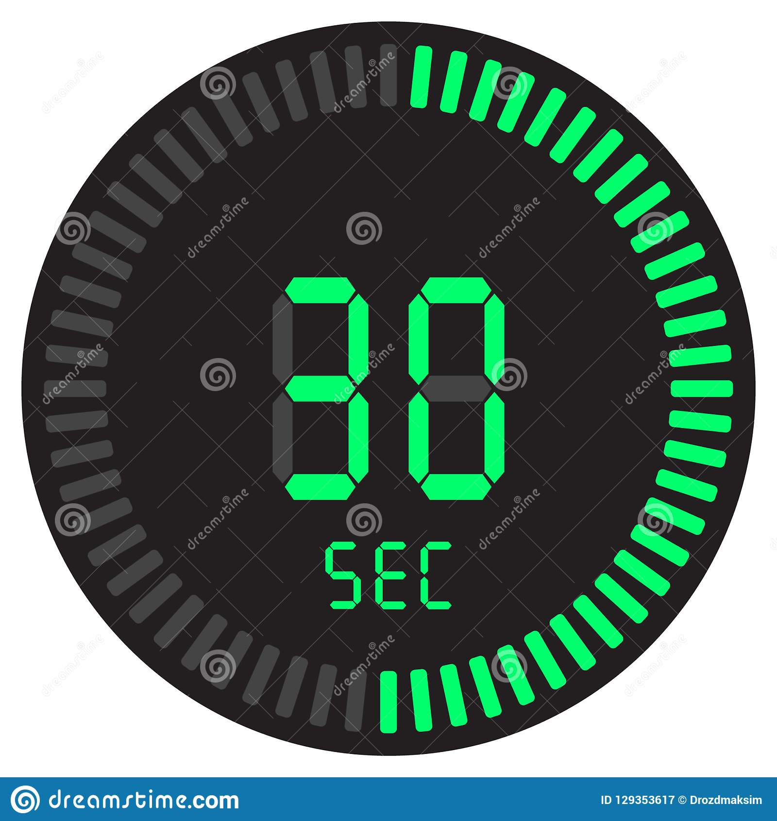 The Digital Timer 30 Seconds. Electronic Stopwatch With A ...