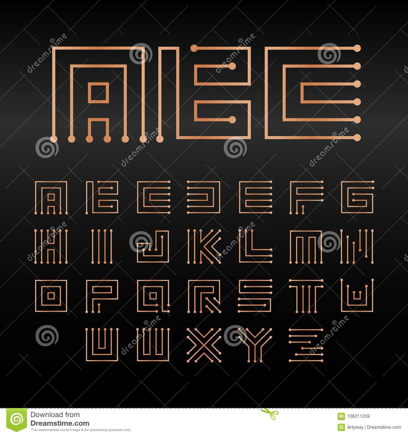 Digital Vector Alphabet Isolated Abstract Technology Font Electronic Circuits Diagrams Microchip Abc Logo Set Circuitry