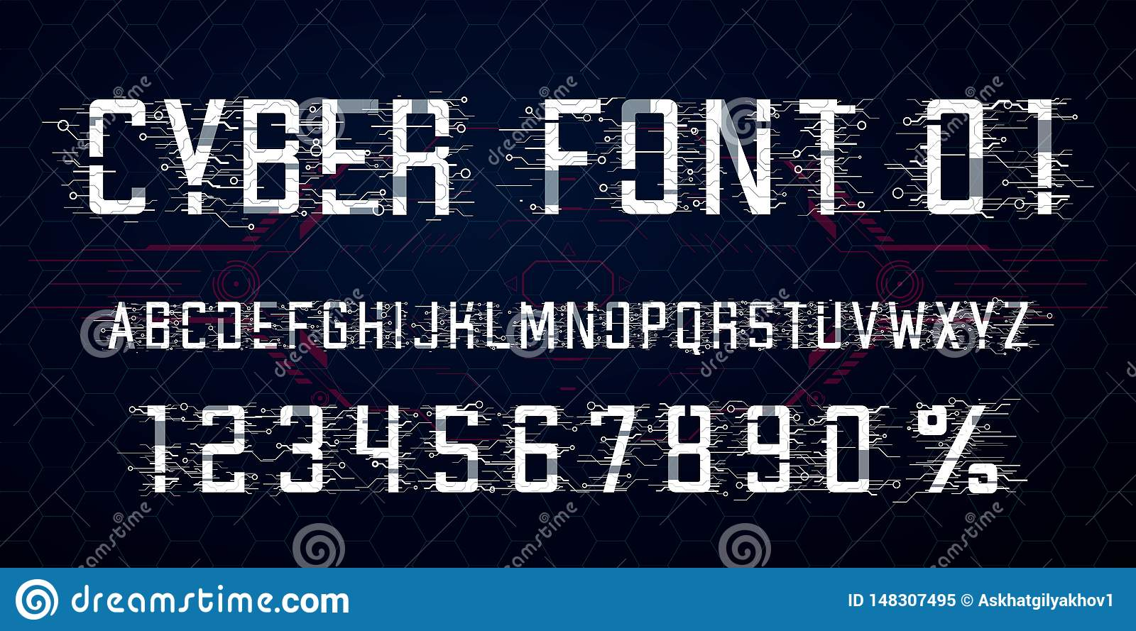 Digital vector Font design. Letters, Numbers and percent symbol for Cyber Monday, Hi-tech style
