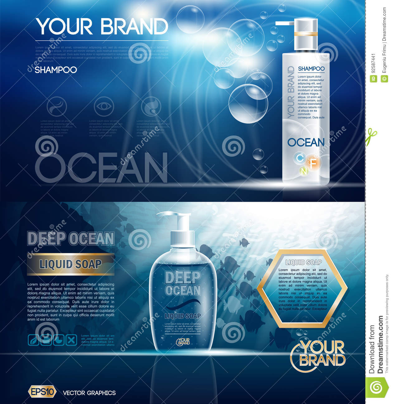 Digital vector ocean blue shower gel