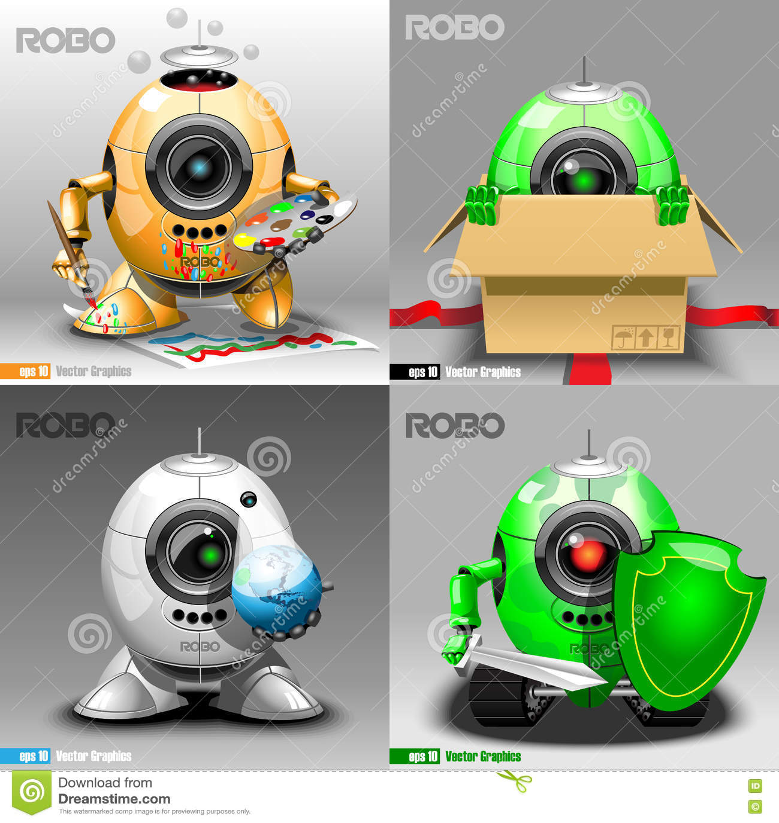 Digital vector robo set, painter, delivery
