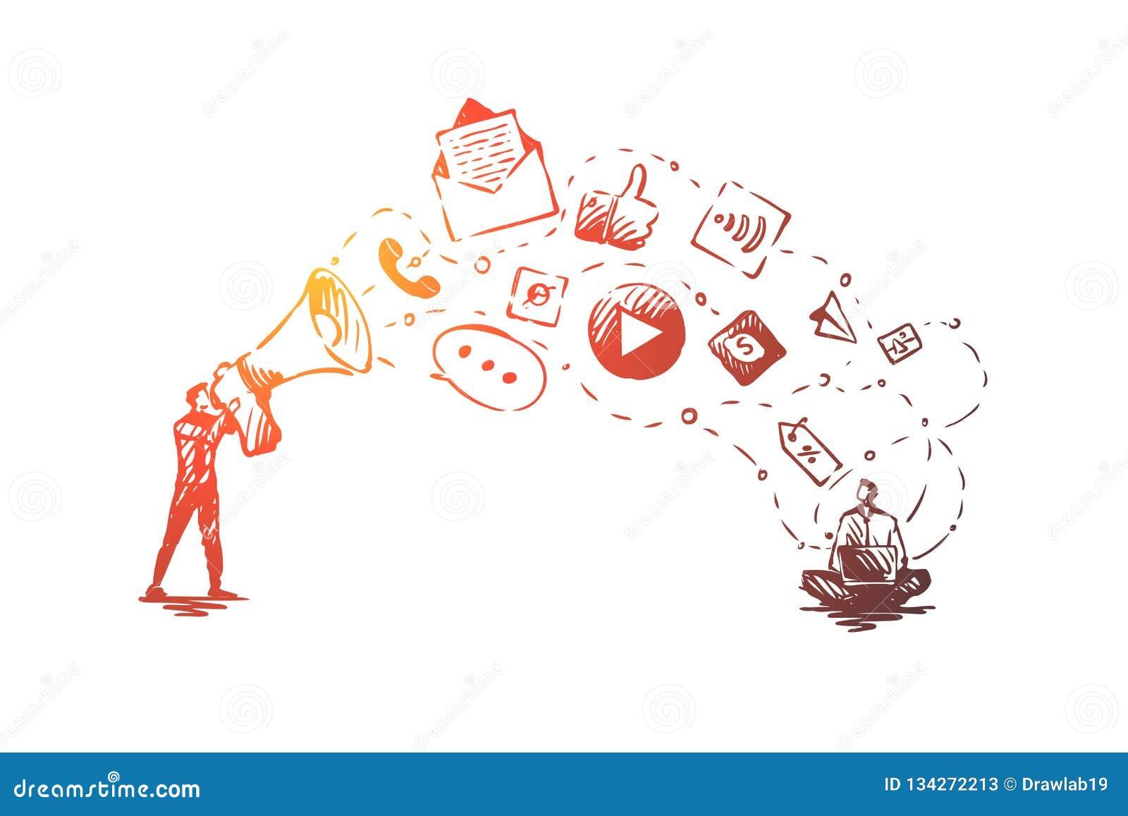 Digital, Vermarkten, on-line, Website, Werbekonzeption Hand gezeichneter lokalisierter Vektor