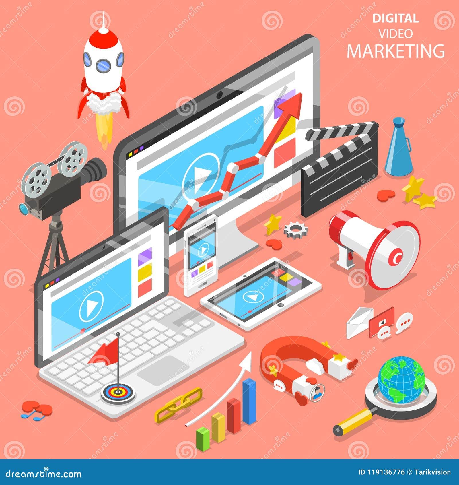 Digital video marketing flat isometric vector.
