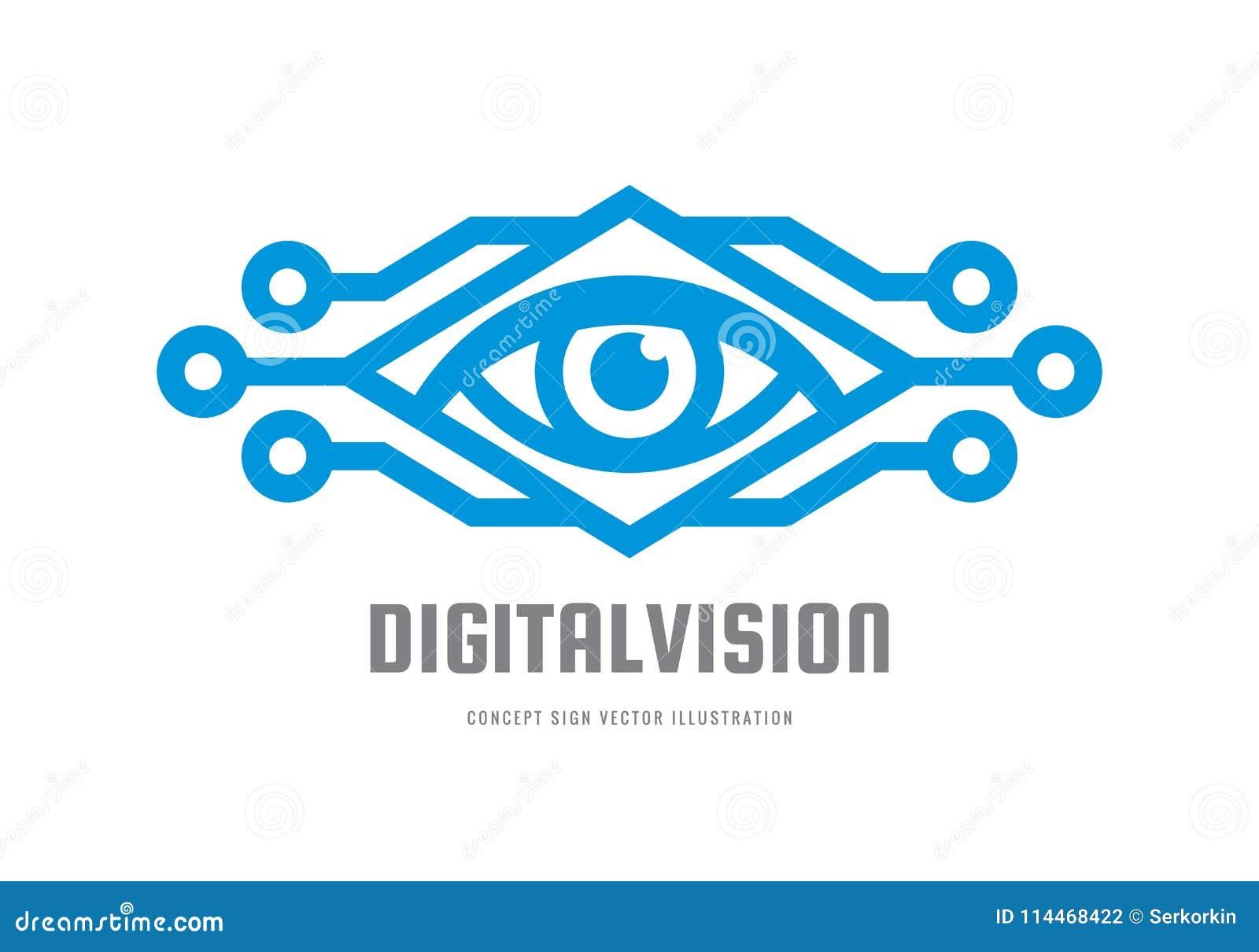Digital-Vision - vector Logoschablonen-Konzeptillustration Abstraktes kreatives Zeichen des menschlichen Auges Sicherheitstechnik