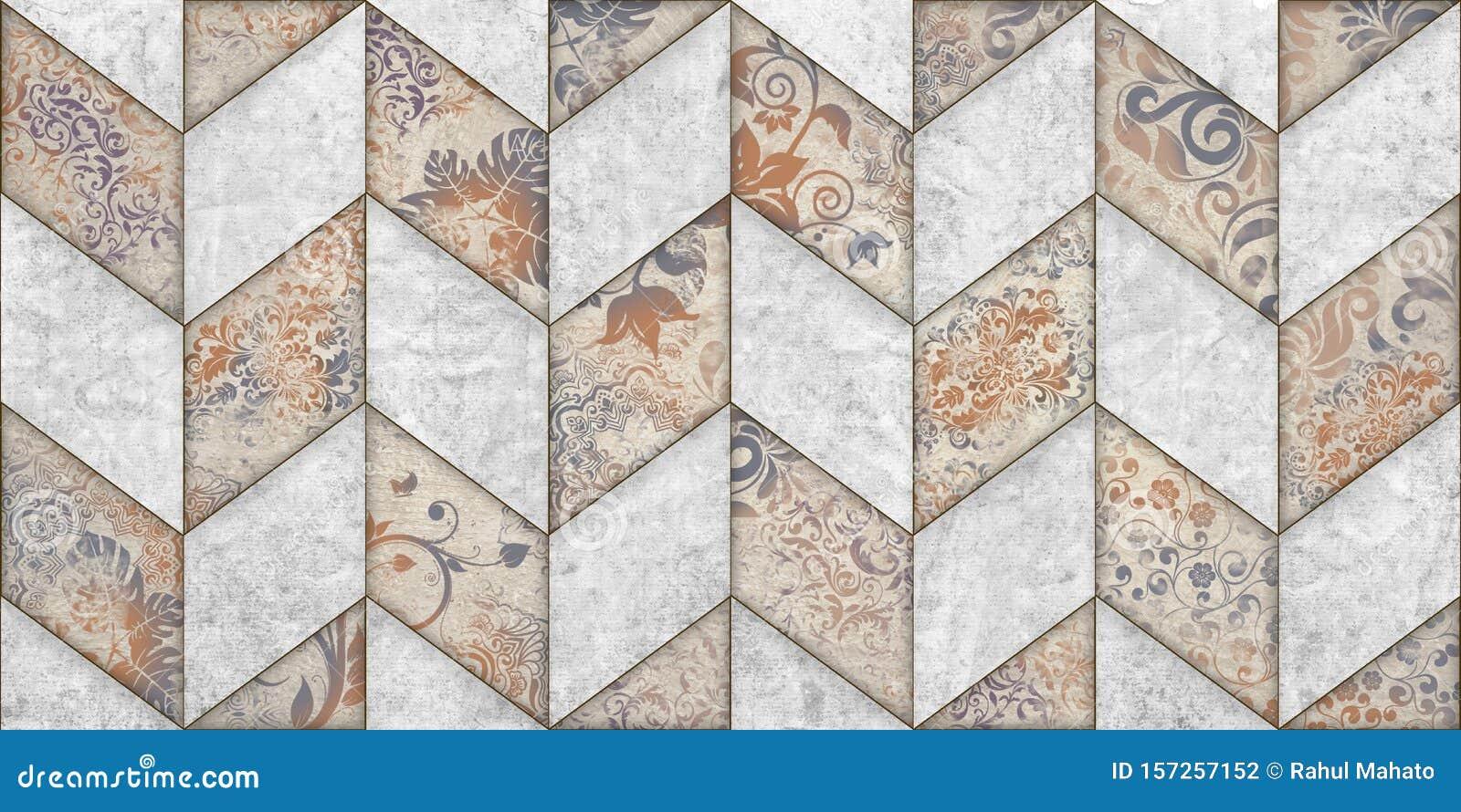 Digital Wall Art Tiles Design For Interior Home Or Ceramic Tiles Design Stock Illustration Illustration Of Retro Digital 157257152