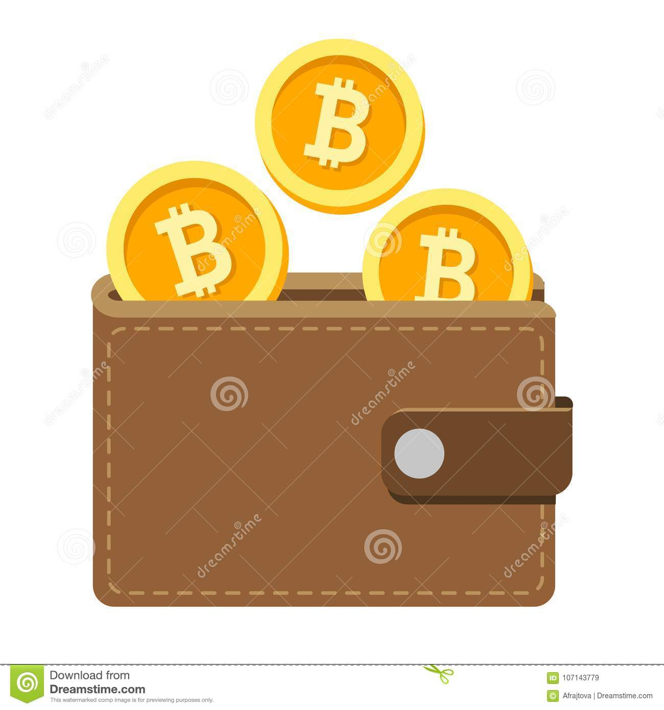 Download Bitcoin Wallet Icon With Cryptocurrency Coins Stock Vector