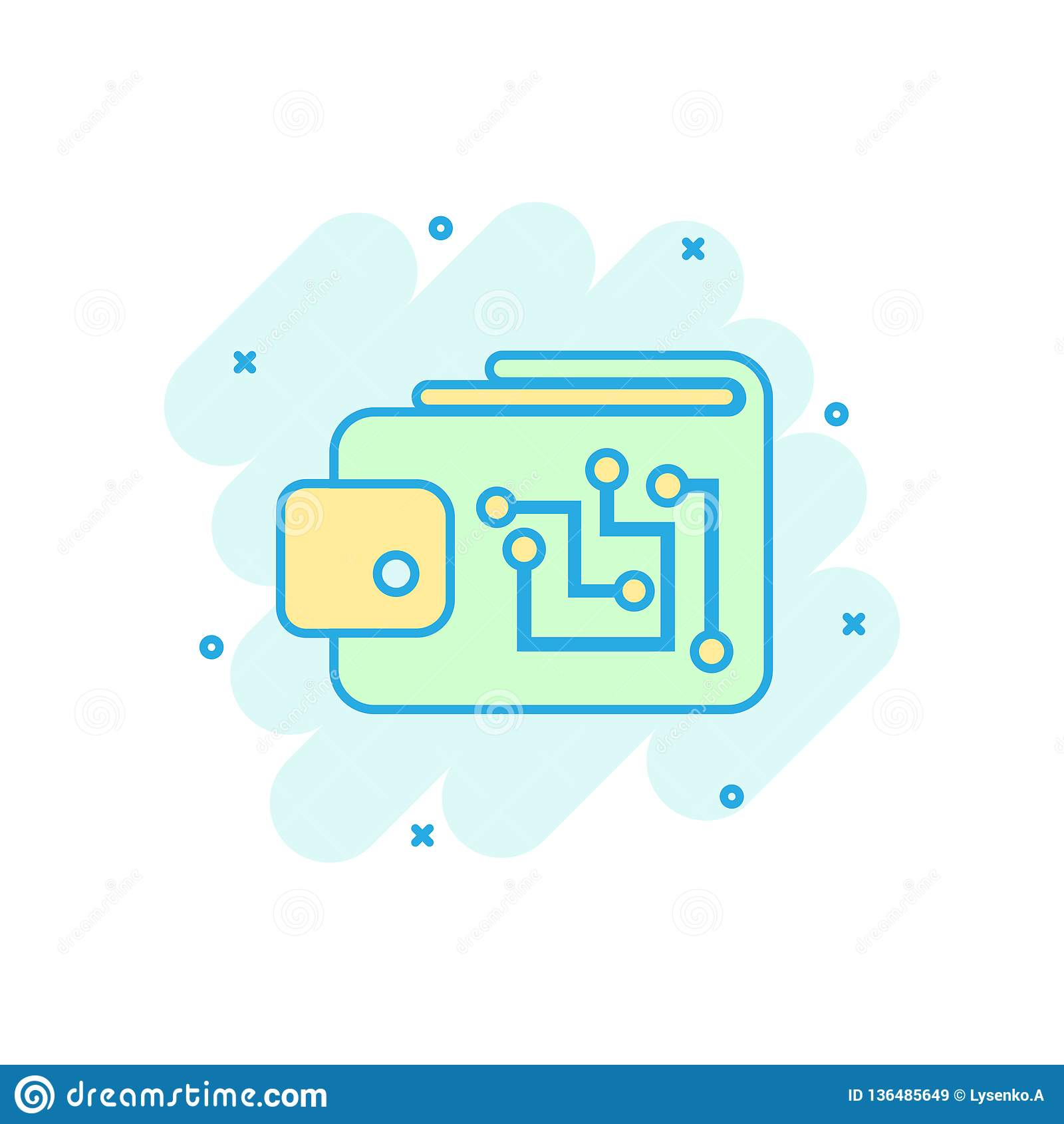 Digital wallet icon in comic style crypto bag vector cartoon illustration pictogram online finance e commerce business concept splash effect