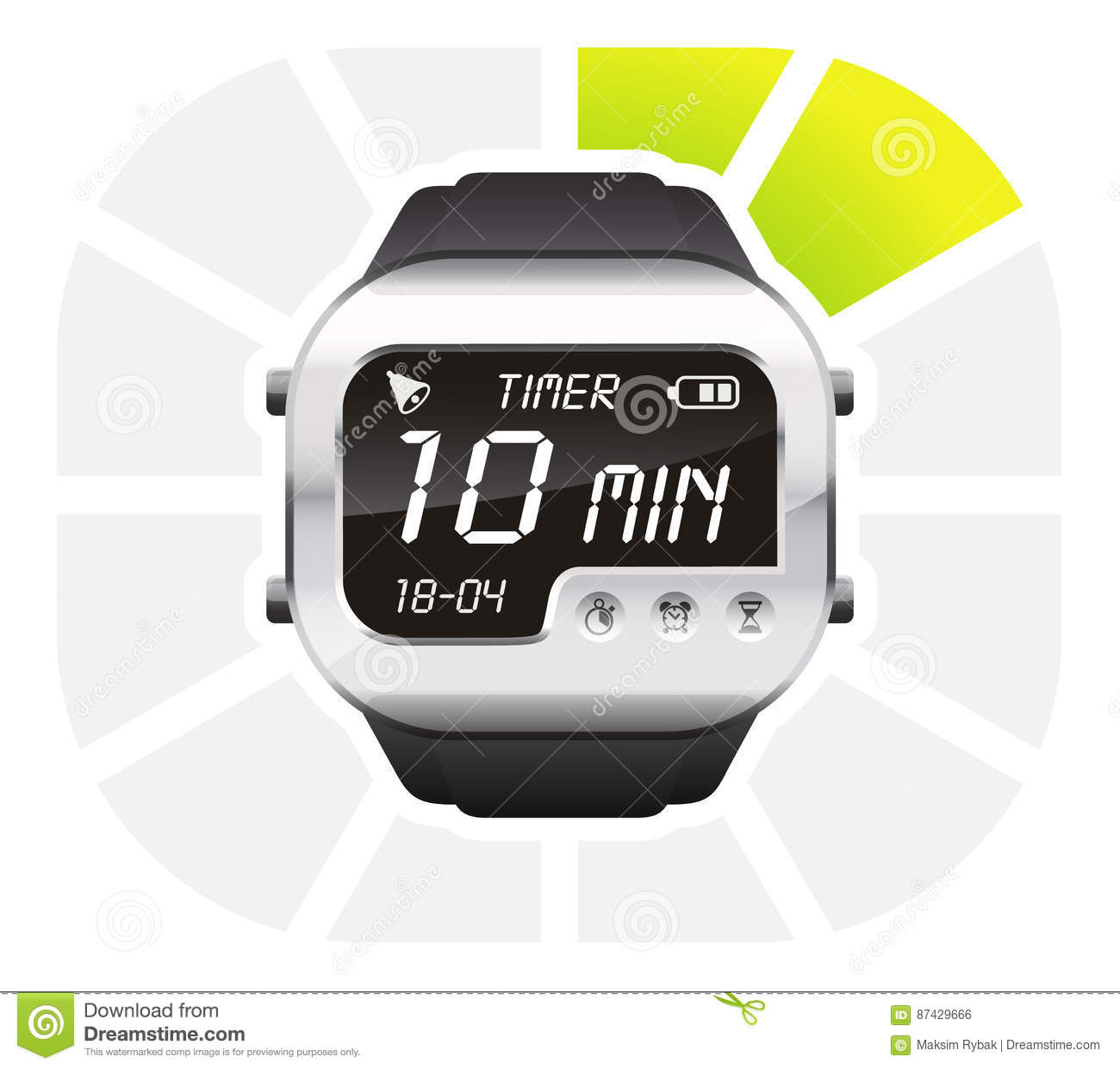 download digital watch timer 10 minutes stock vector illustration of clock interface 87429666