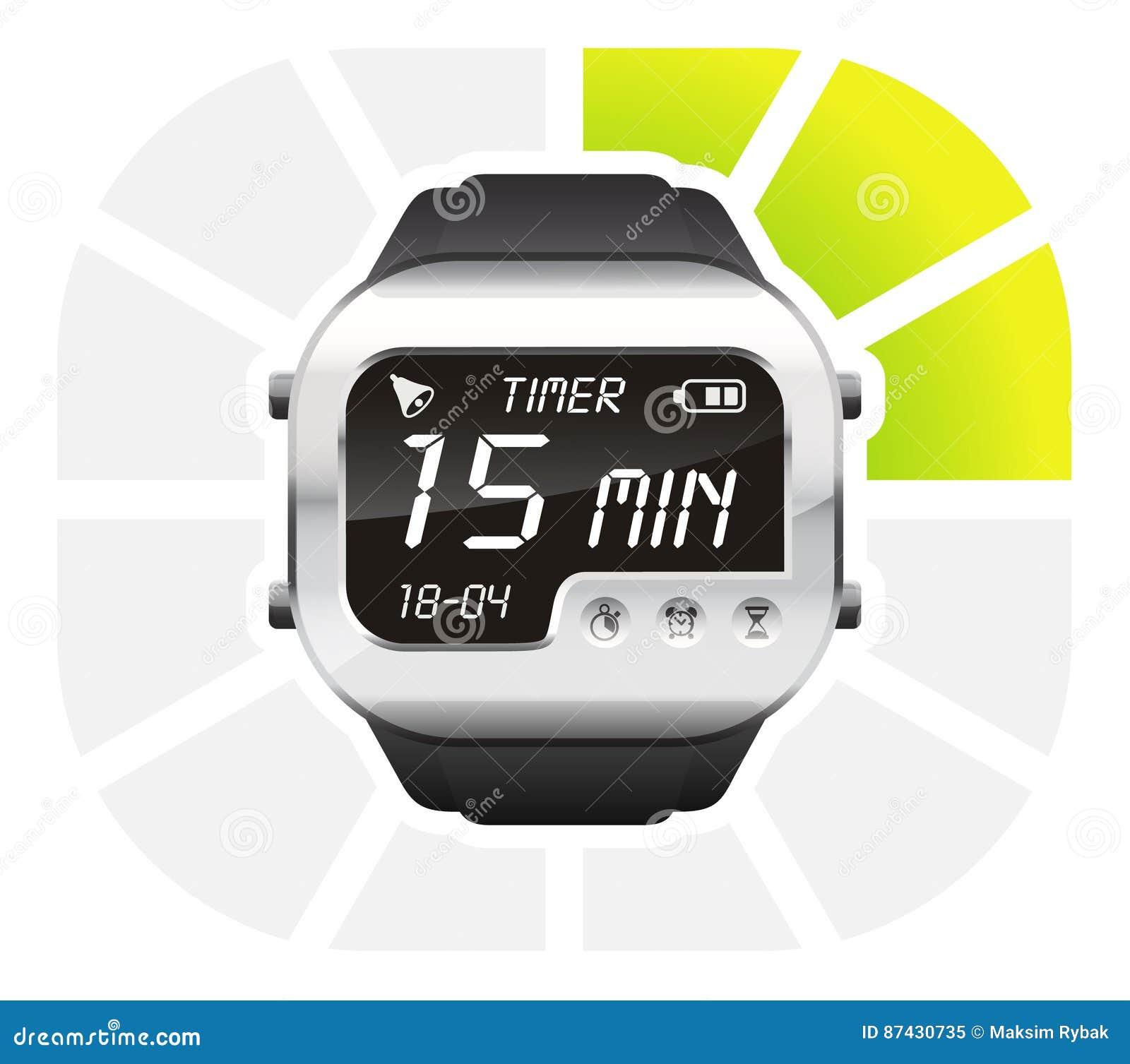 digital watch timer 15 minutes stock vector illustration of vector