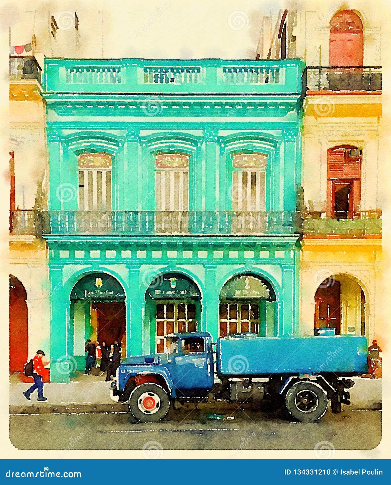 Blue water tank truck in Havana in Cuba