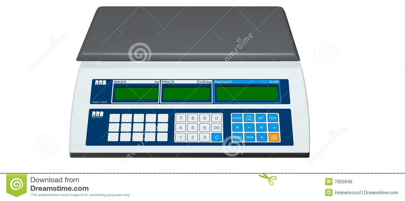 Digital weighing scales stock illustration  Illustration of pound