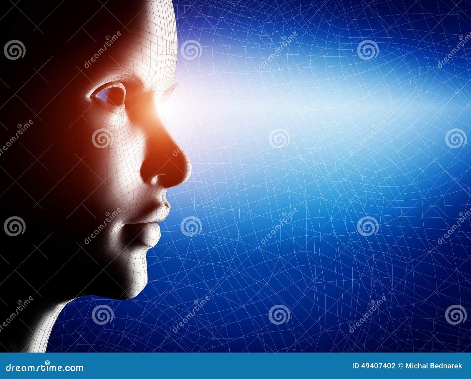 Download Digital, Wireframe Menschliches Profil-Gesichtsporträt Stock Abbildung - Illustration von erfindung, konzept: 49407402