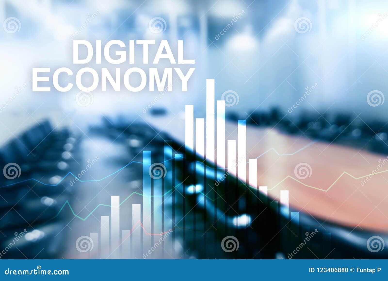 Digital-Wirtschaft, Finanztechnologiekonzept auf unscharfem Hintergrund