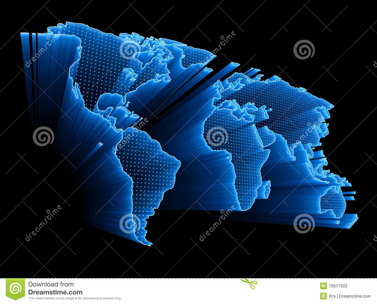 Digital World Map Stock Illustration. Image Of America