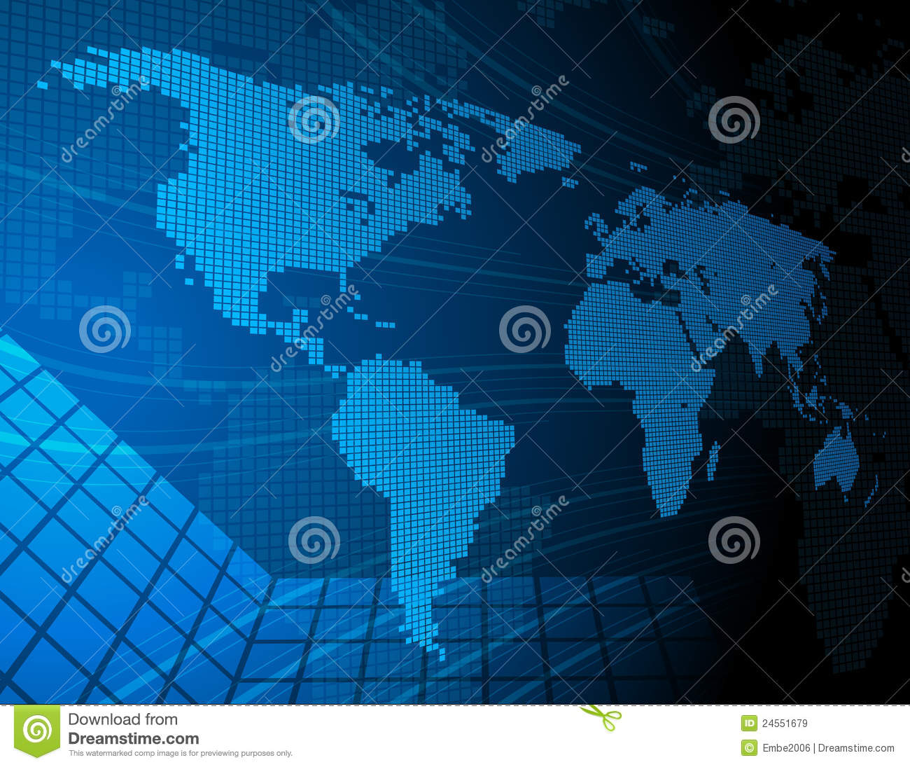 Digital World Map Stock Vector Illustration Of Detail