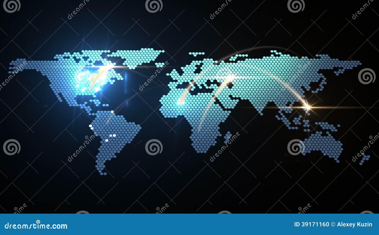 digital world map animation stock video