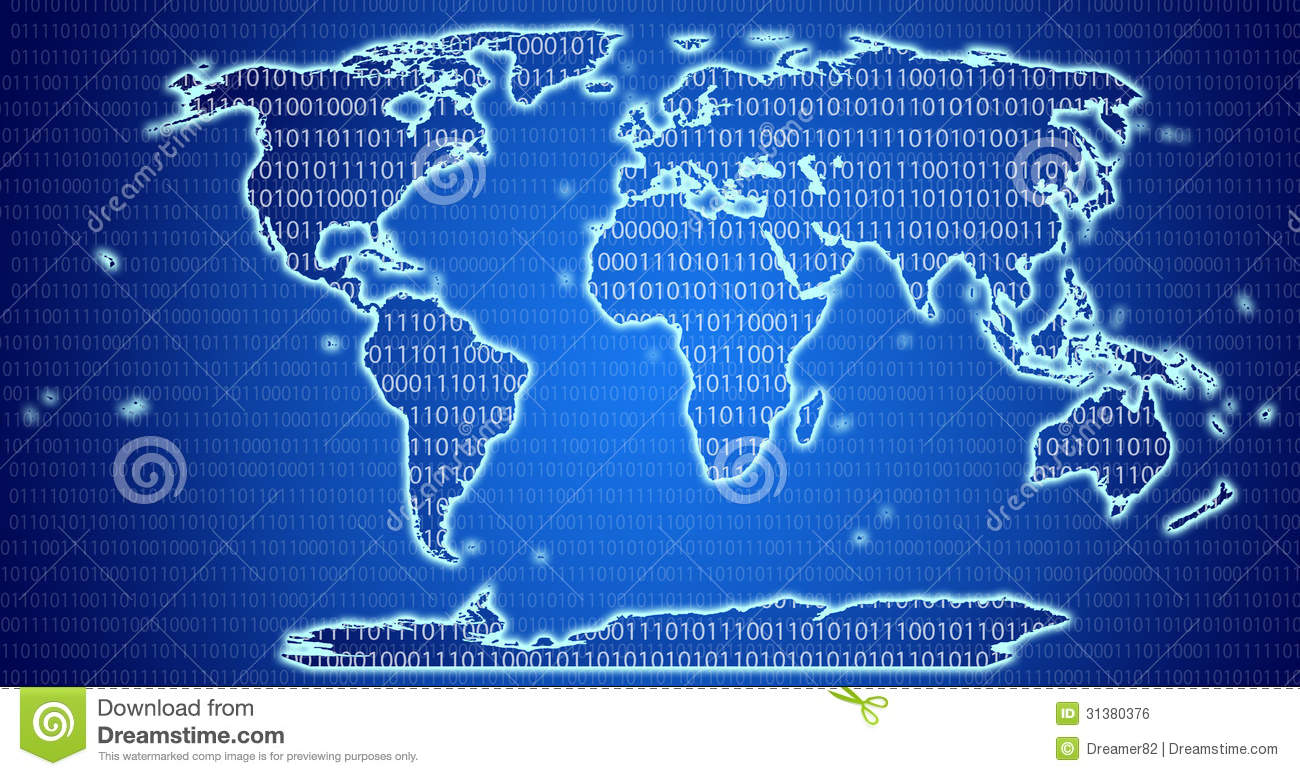 Digital world map with binary code blue background stock digital world map with binary code blue background gumiabroncs Choice Image