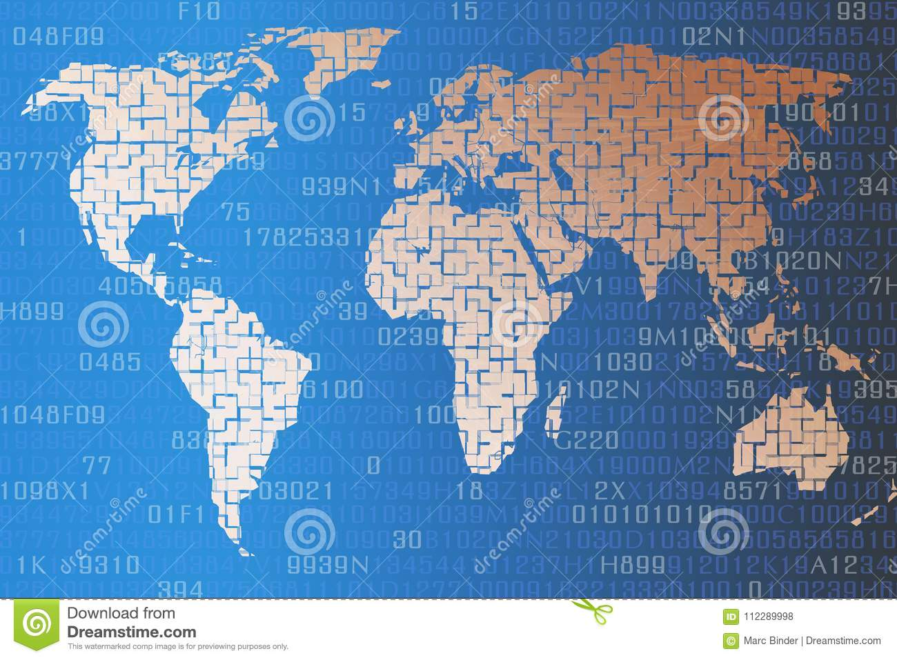 The 100 Map Of Earth.The Digital World Map Of The Earth Now Stock Illustration