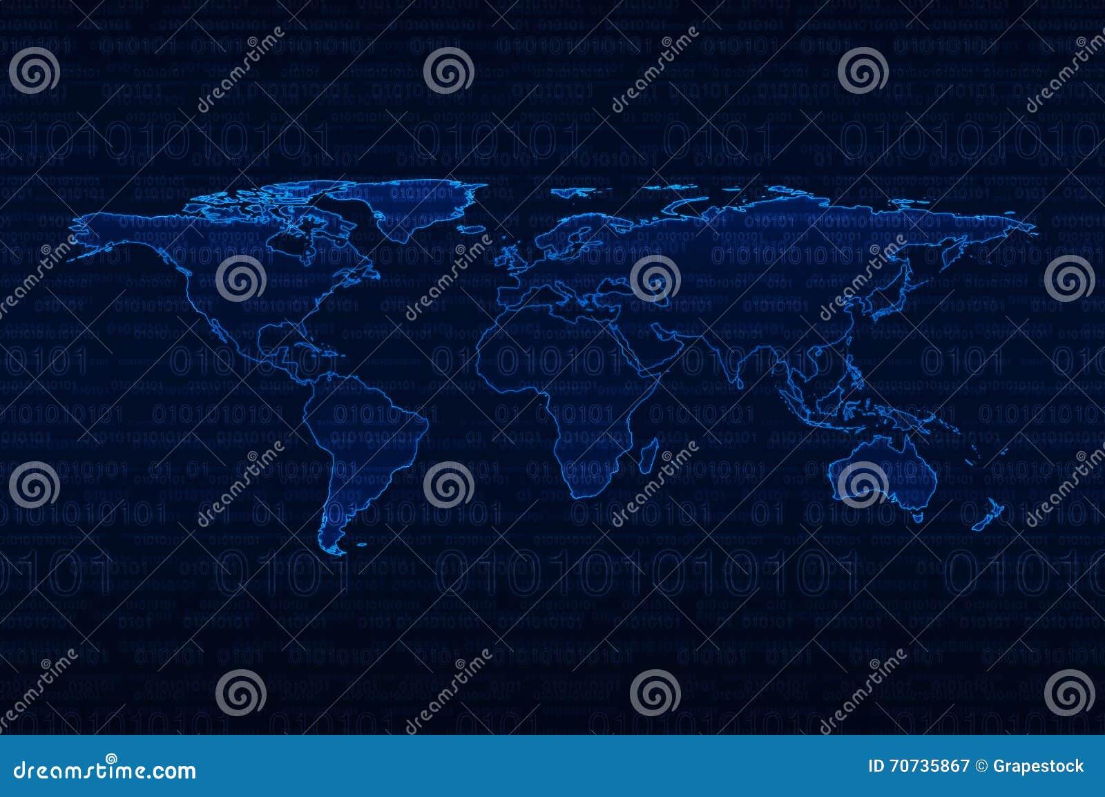 Digital world map over binary code background