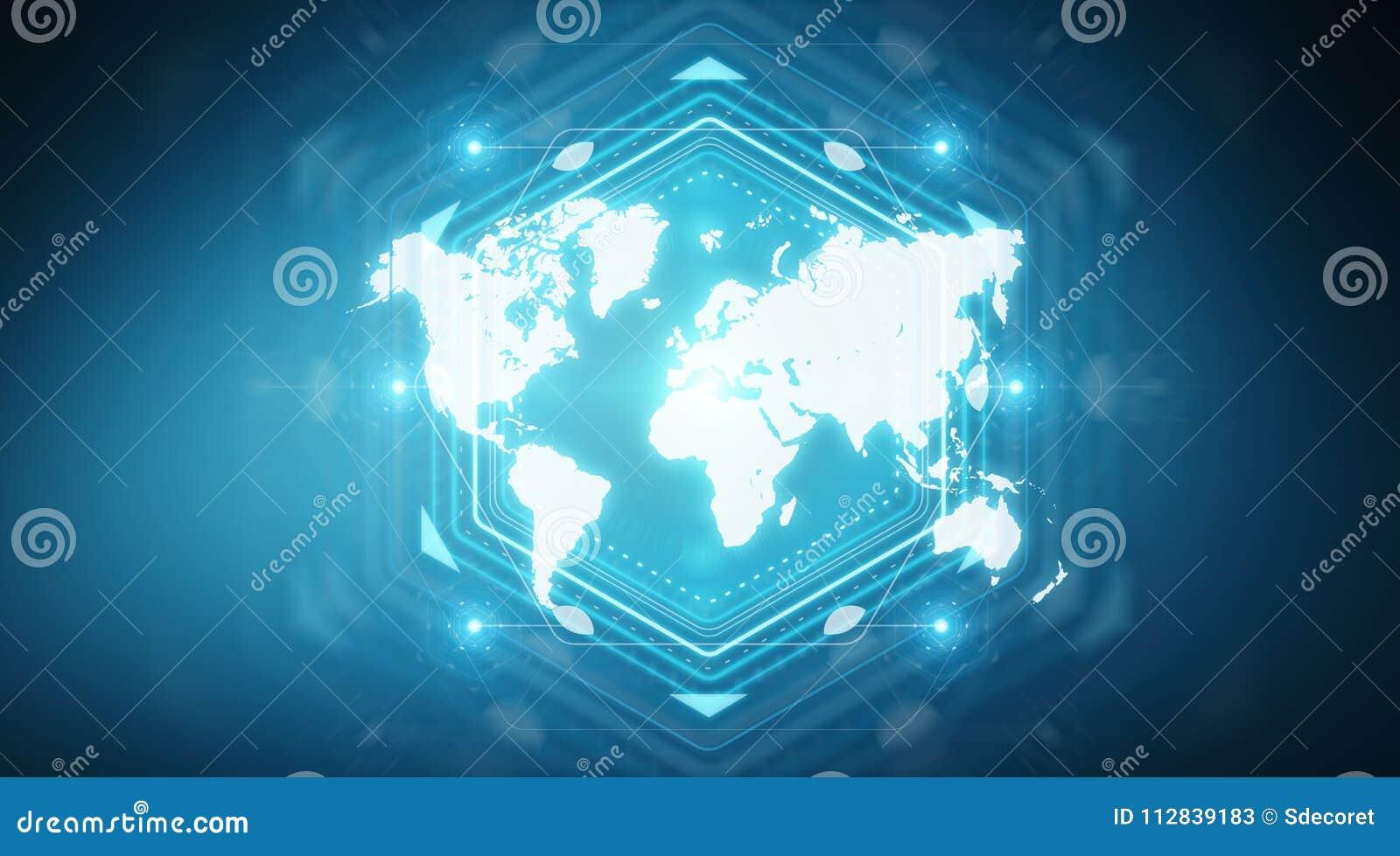 Digital World Map Screen Interface 3D Rendering Stock Illustration