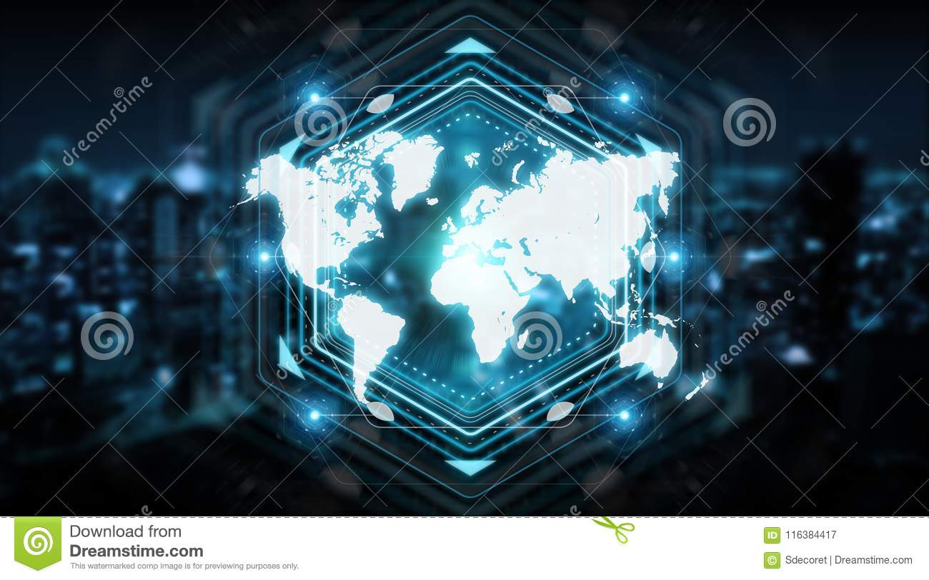 Digital world map screen interface 3d rendering stock illustration digital world map screen interface isolated on blue background 3d rendering gumiabroncs Choice Image