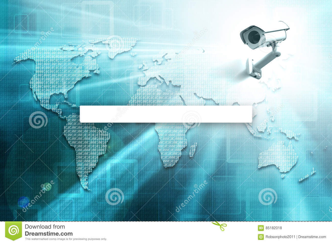Search World Map.Digital World Map With Search Bar And Cctv Stock Illustration