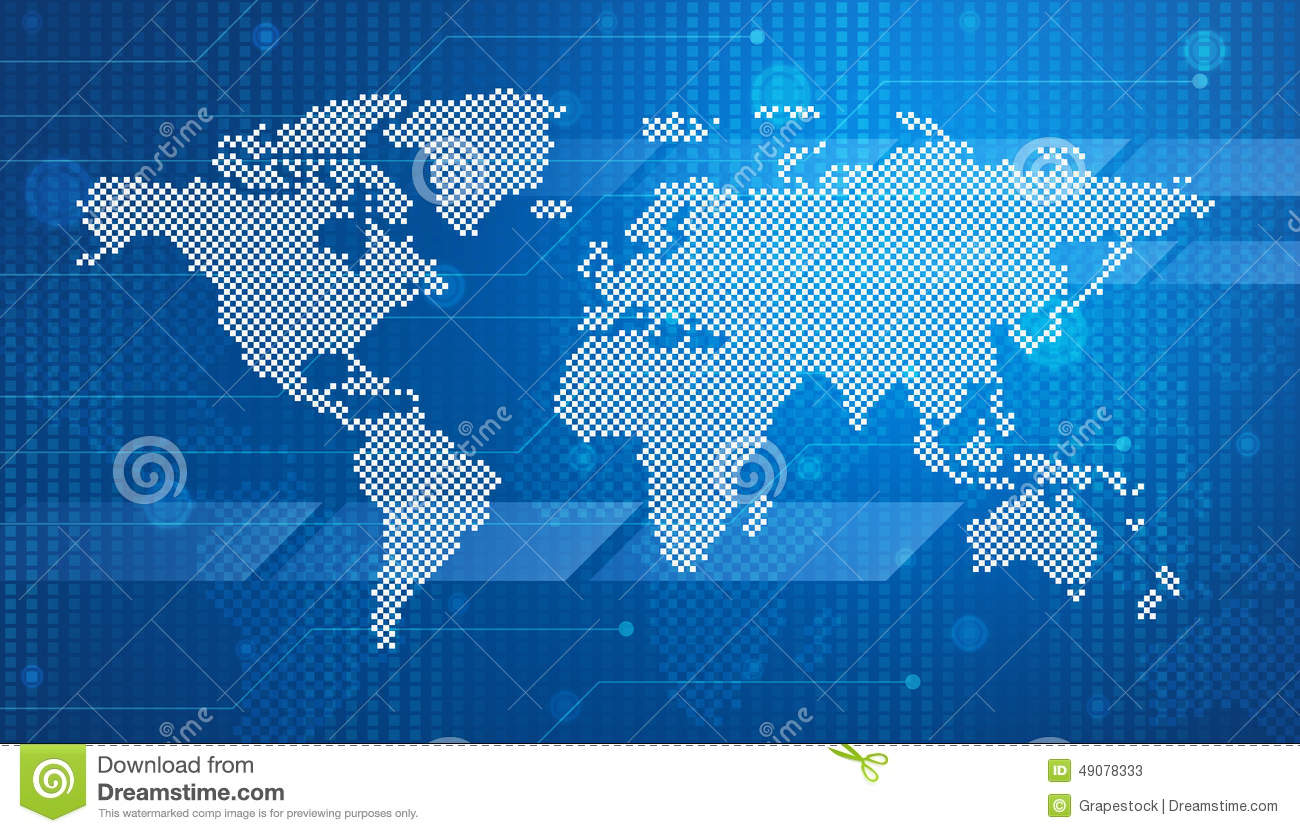 Digital world map technology style stock illustration digital world map technology style gumiabroncs Gallery