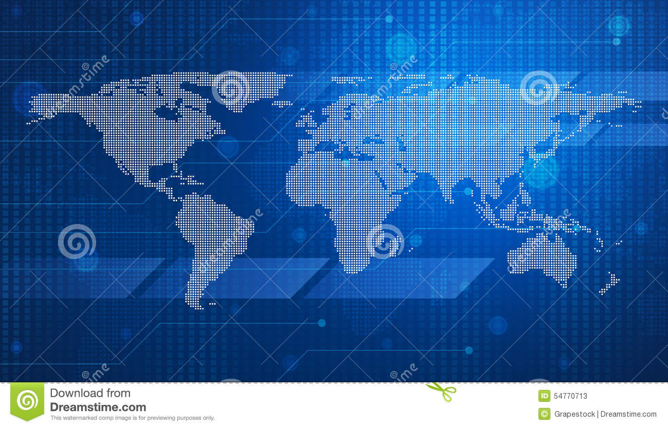 Digital world map technology style stock illustration digital world map technology style royalty free illustration download gumiabroncs Choice Image