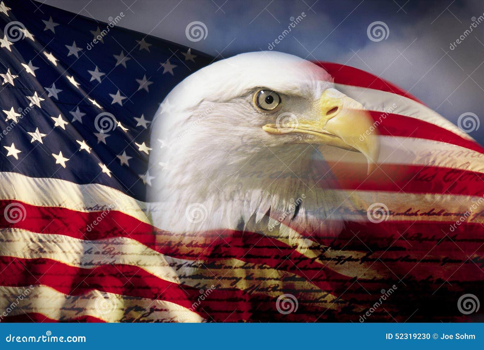 Digital złożony: Amerykański łysy orzeł i flaga underlaid z handwriting USA konstytucja