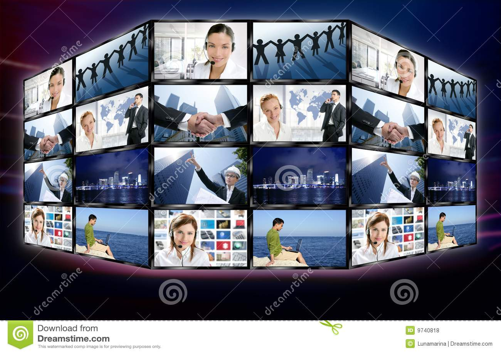Digitale Bildschirmwand der futuristischen Fernsehvideonachrichten