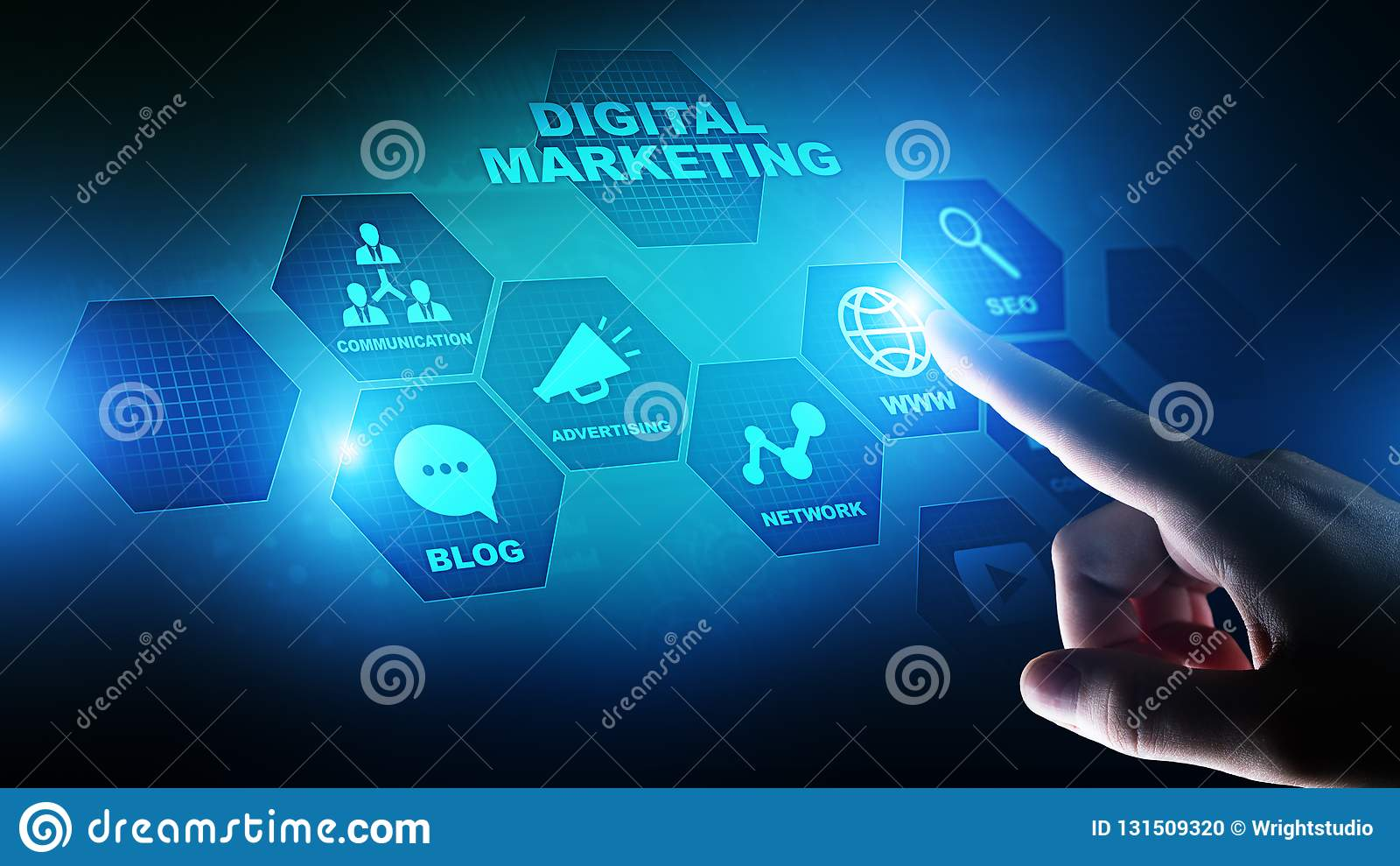 Digitale marketing die, online, SEO, SEM, SMM adverteren Zaken en Internet-concept