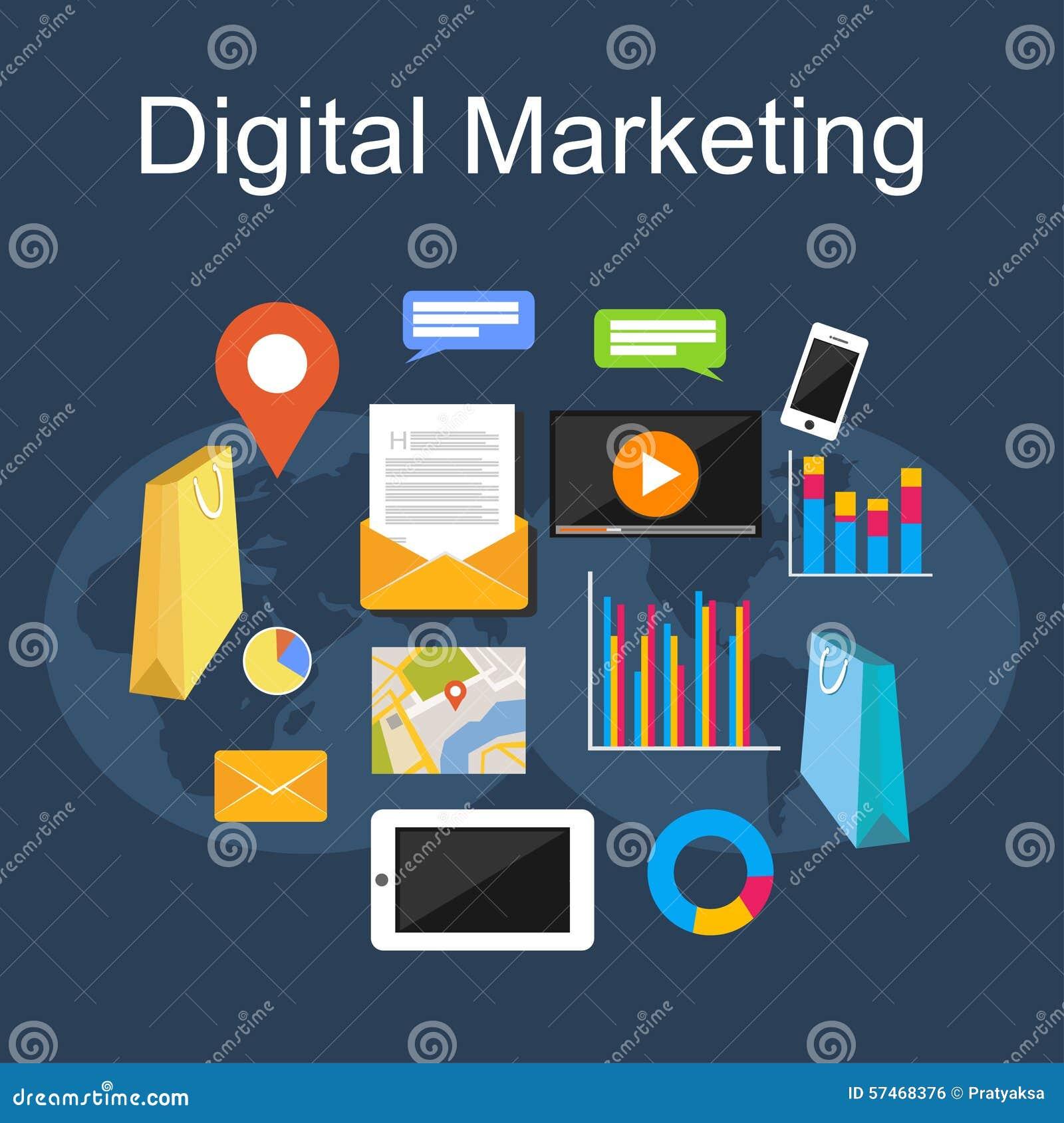 Digitale marketing illustratie De vlakke concepten van de ontwerpillustratie