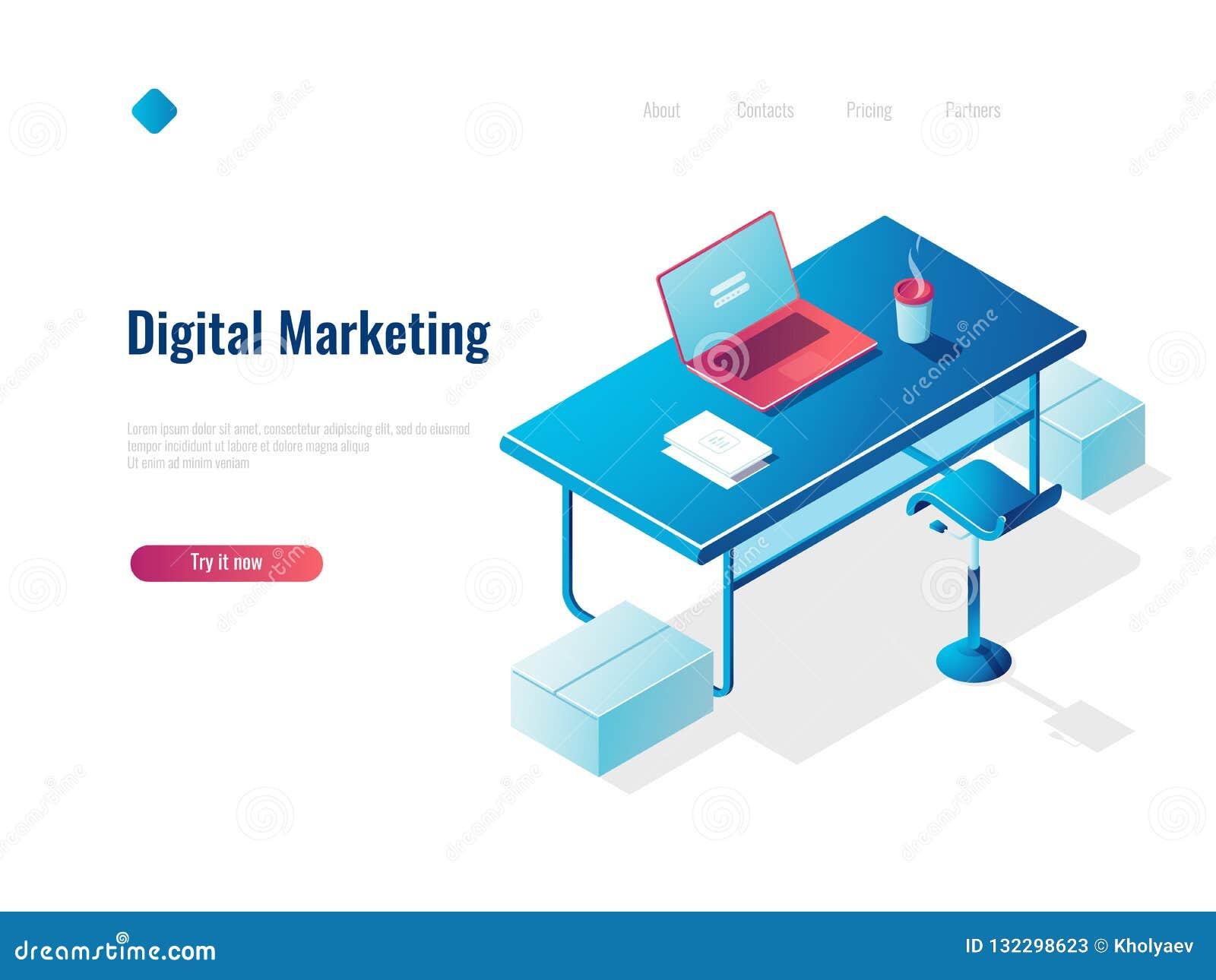 Digitale marketing isometrische conceptenwerkgelegenheid, bureauwerkplaats, werkruimte, lijst met open laptop, bovenkant