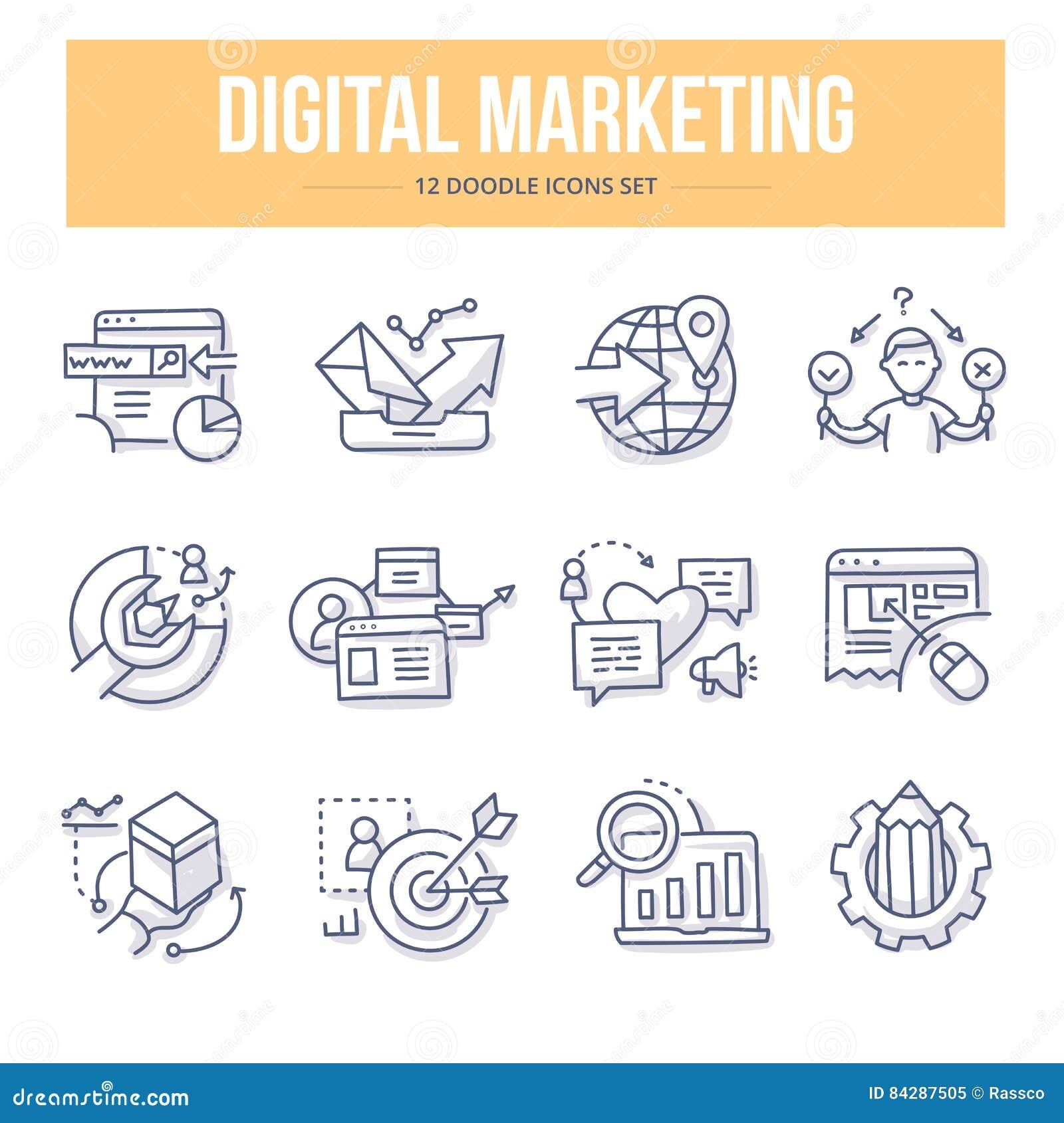 Digitale marketing krabbelpictogrammen