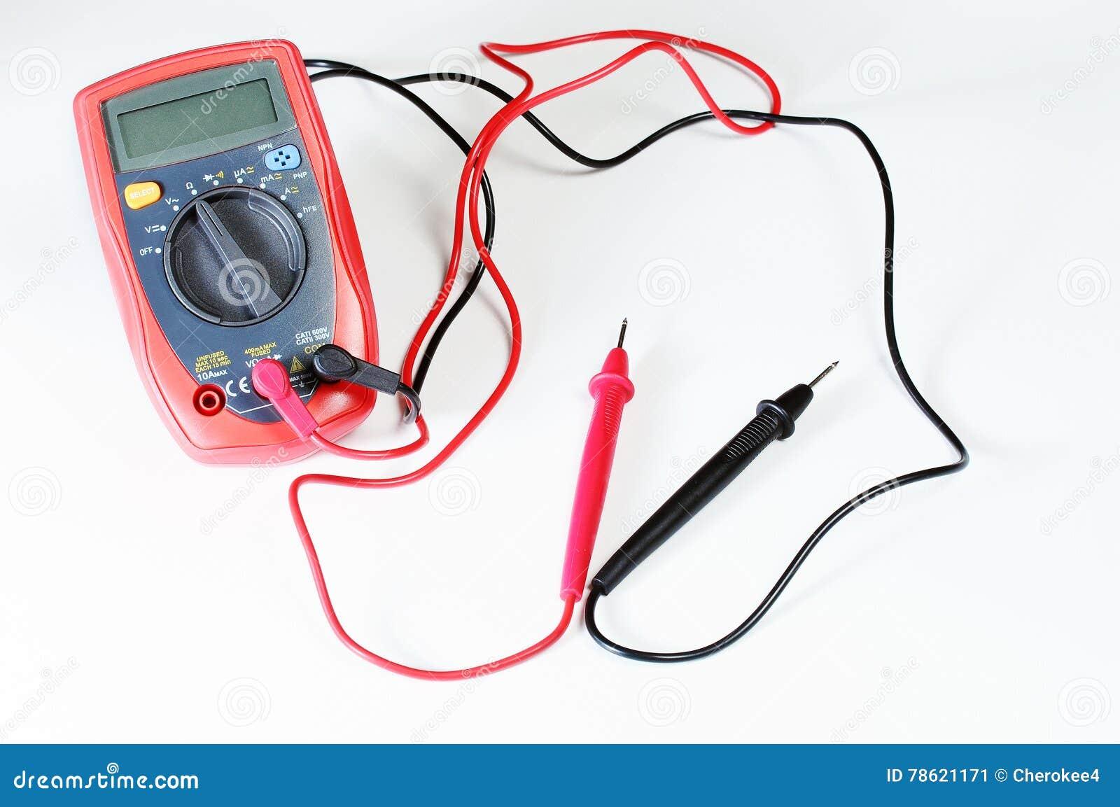 Digitale multimeter of multitester of volt-Ohm meter, een elektronisch meetinstrument dat verscheidene metingsfunctie combineert