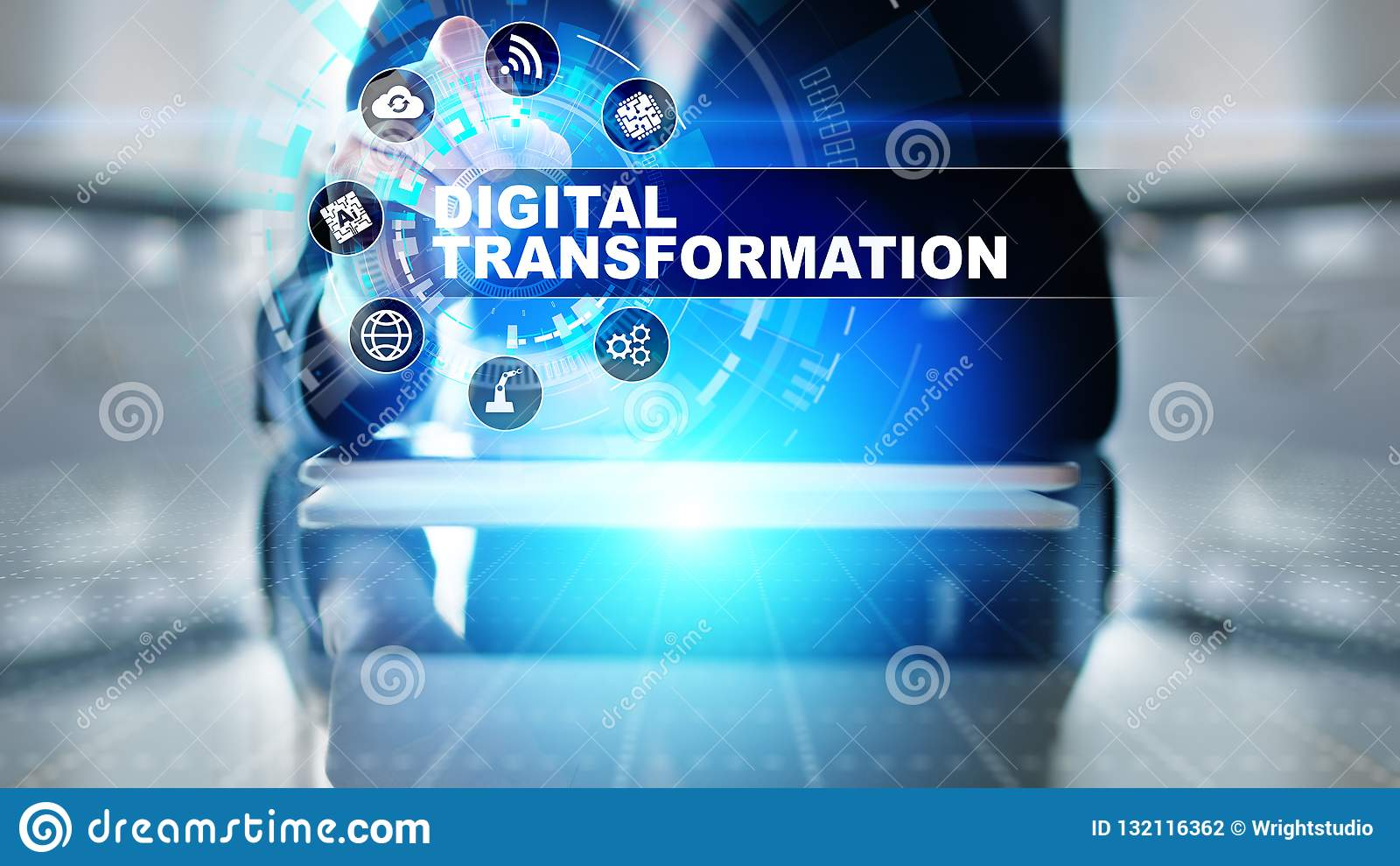 Digitale transformatie, verstoring, innovatie Zaken en modern technologieconcept