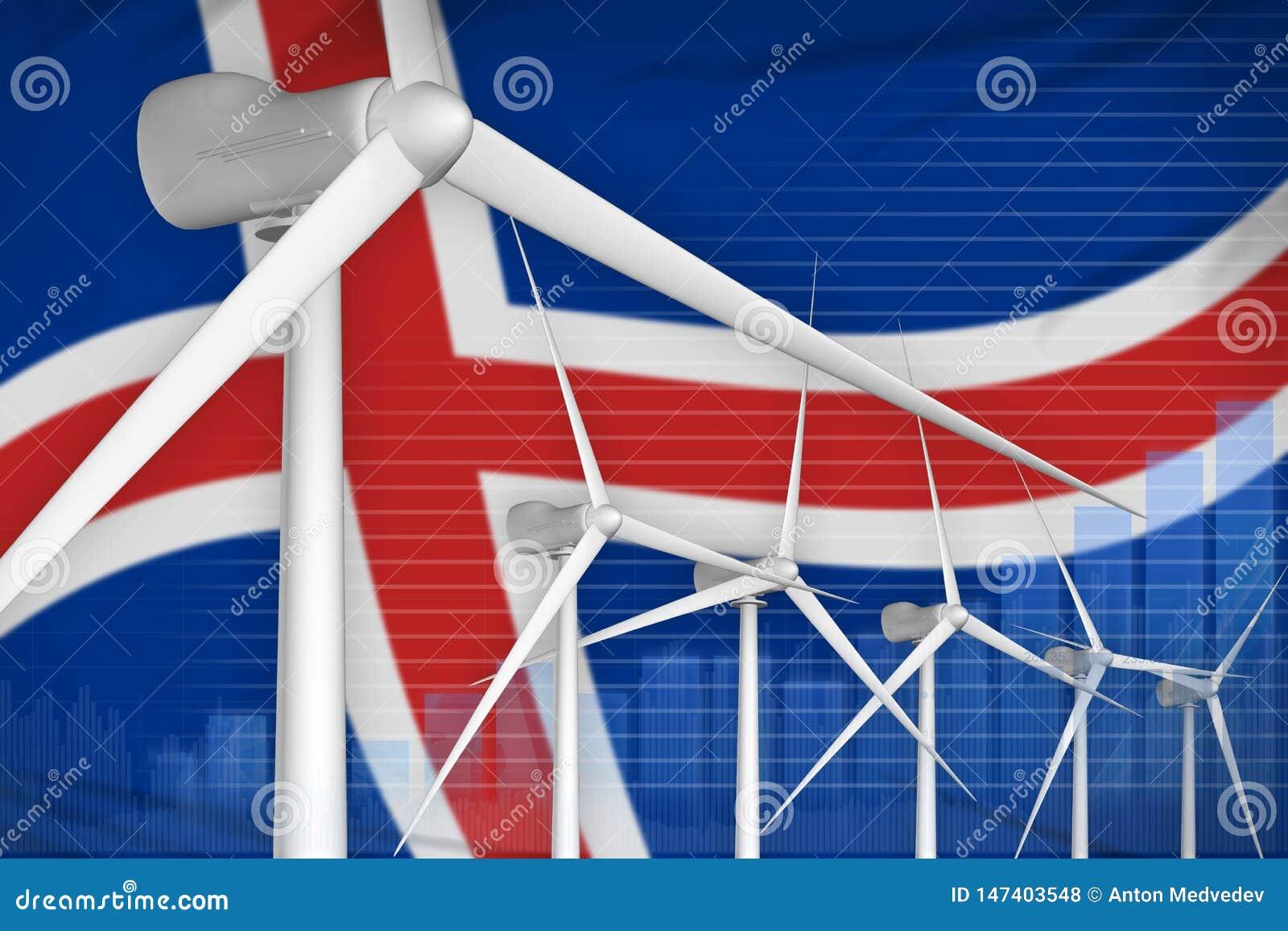 Digitales Diagrammkonzept der Island-Windenergie-Energie - moderne industrielle Illustration der natürlichen Energie Abbildung 3D
