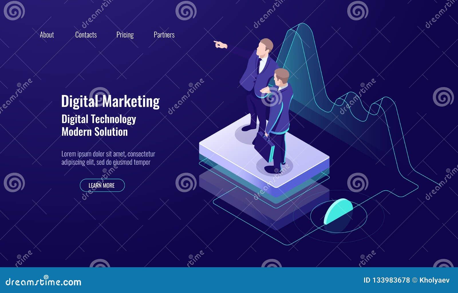 Digitales Marketing des Analytics, isometrisches Konzept, Teamwork, Unterricht herauf Fähigkeit, Studienarbeitskraft, dunkles Neo