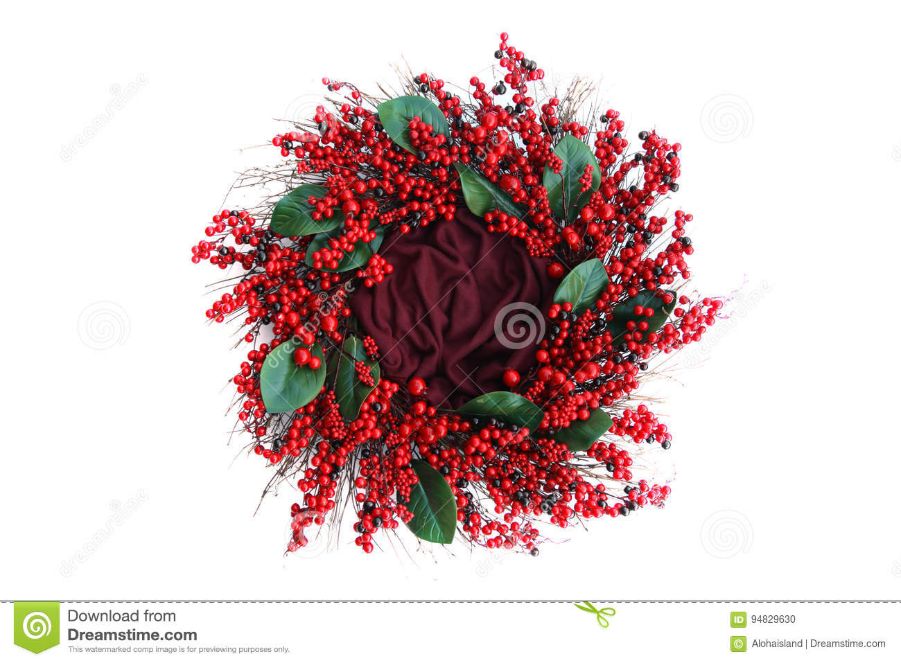 Digitalfotografie-Hintergrund roten Berry Holiday Wreath Isolated On-Weiß