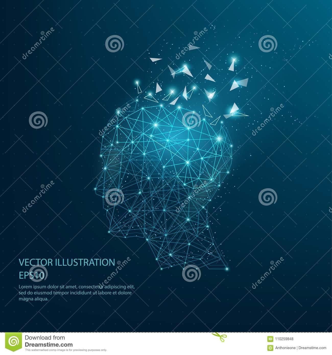 Digitally Drawn Thinkers Head And Brain Low Poly Wire Frame. Stock ...