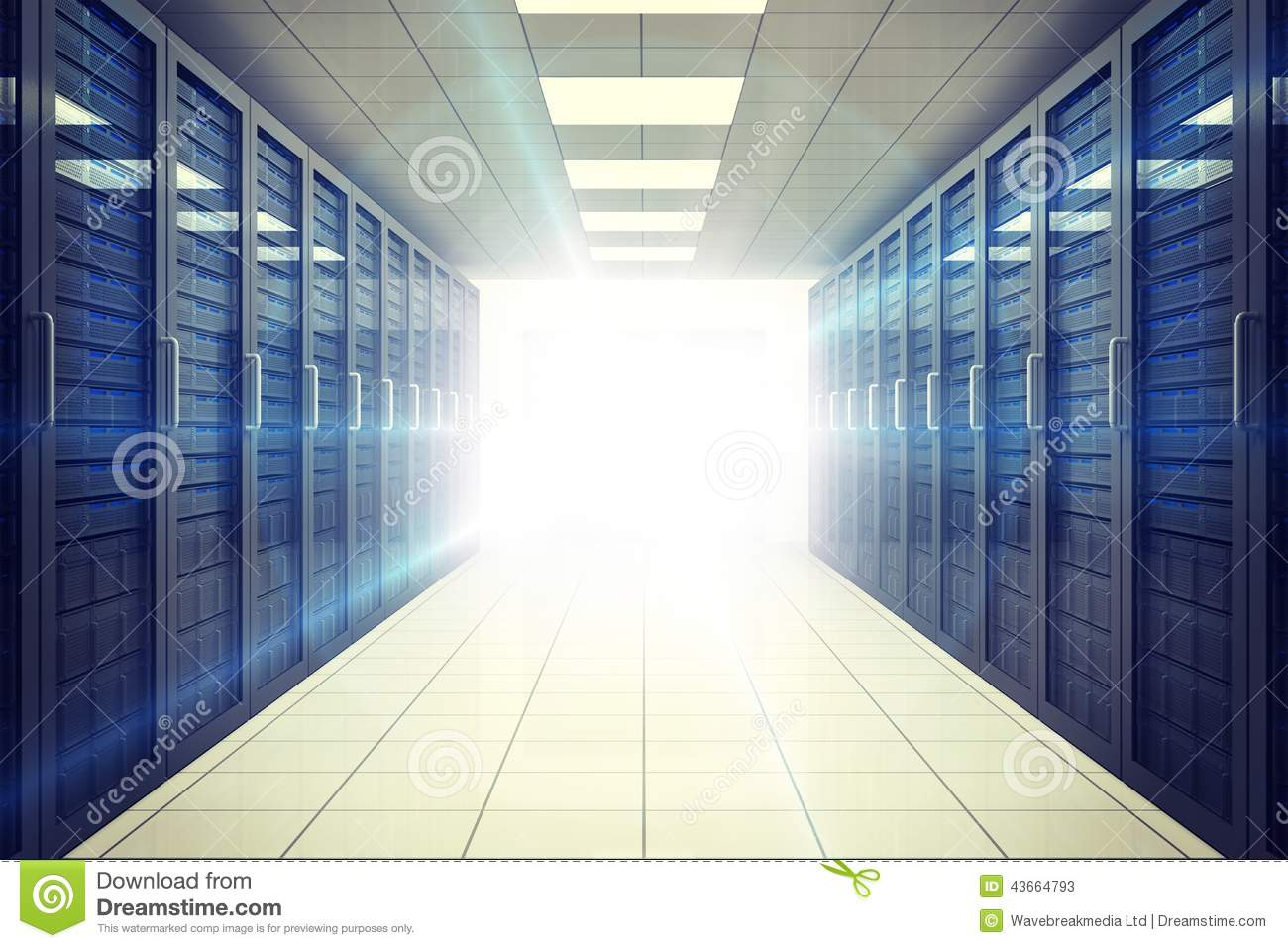 Server Room Lighting : Digitally generated server room with towers stock