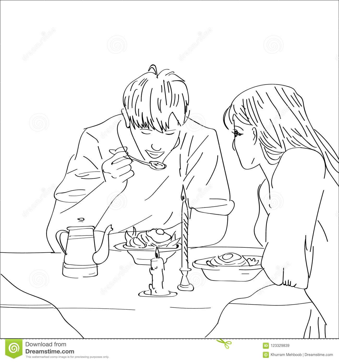 Hand drawn sketched young couple enjoying meal