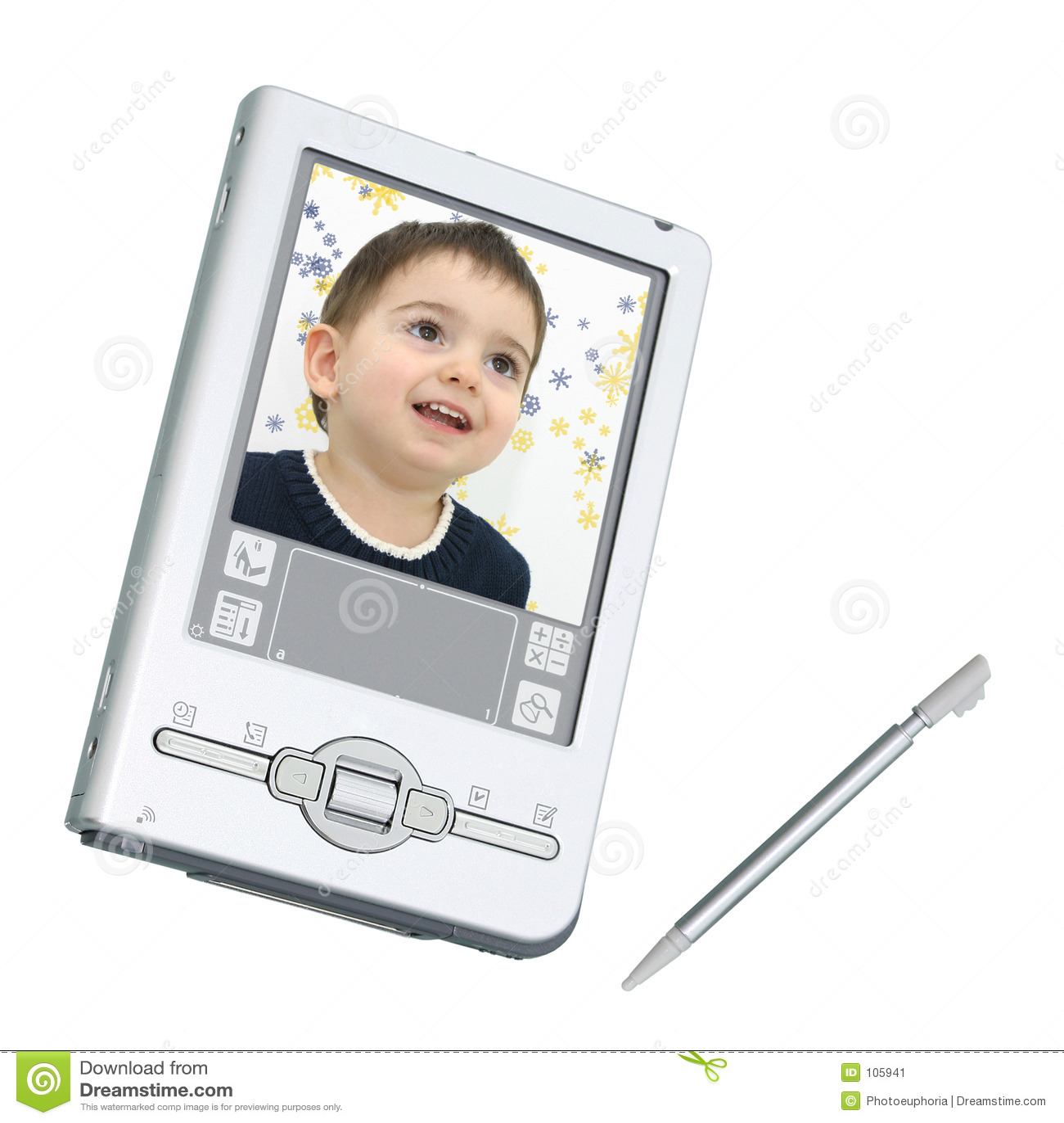 Digitas PDA & estilete sobre o branco