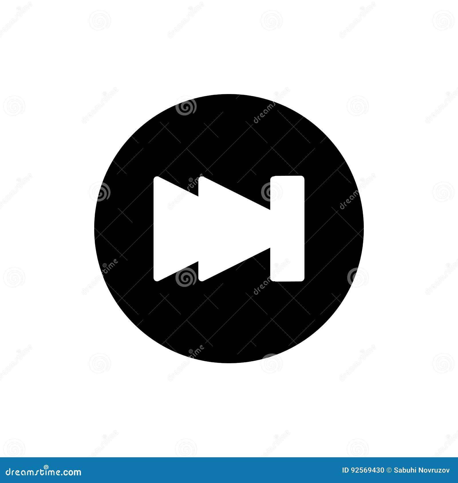Digiuna il simbolo del segno di vettore isolato illustrazione di andata dell icona Bottone di Rewind isolato su bianco