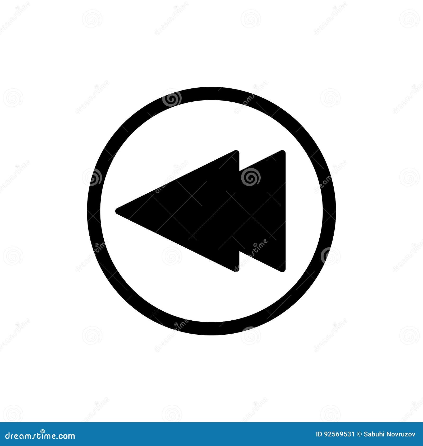 Digiuna indietro l icona di vettore del lettore multimediale di rewind Icona lineare del profilo isolata su bianco