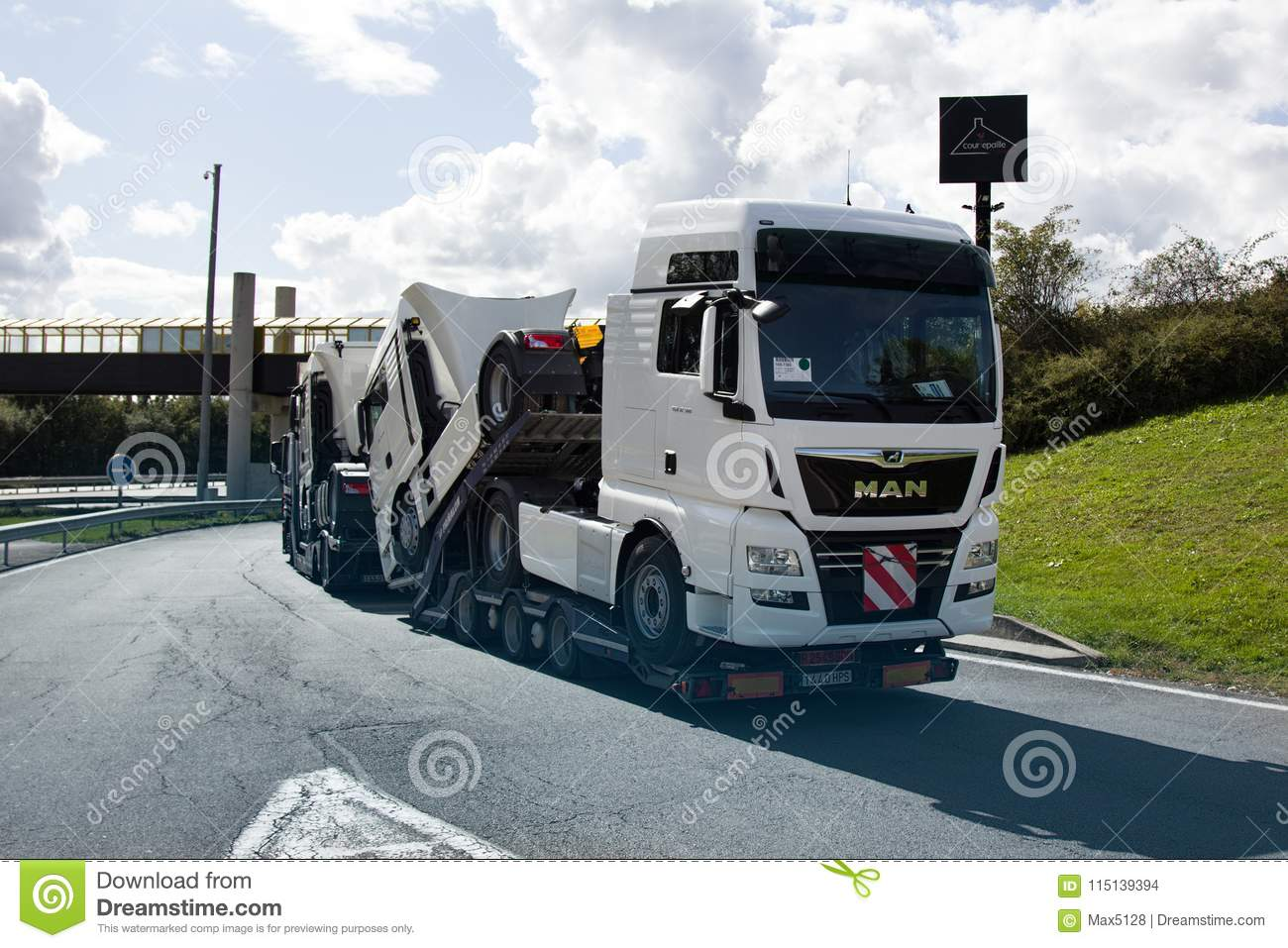 Haulaway loaded truck cab editorial stock image  Image of