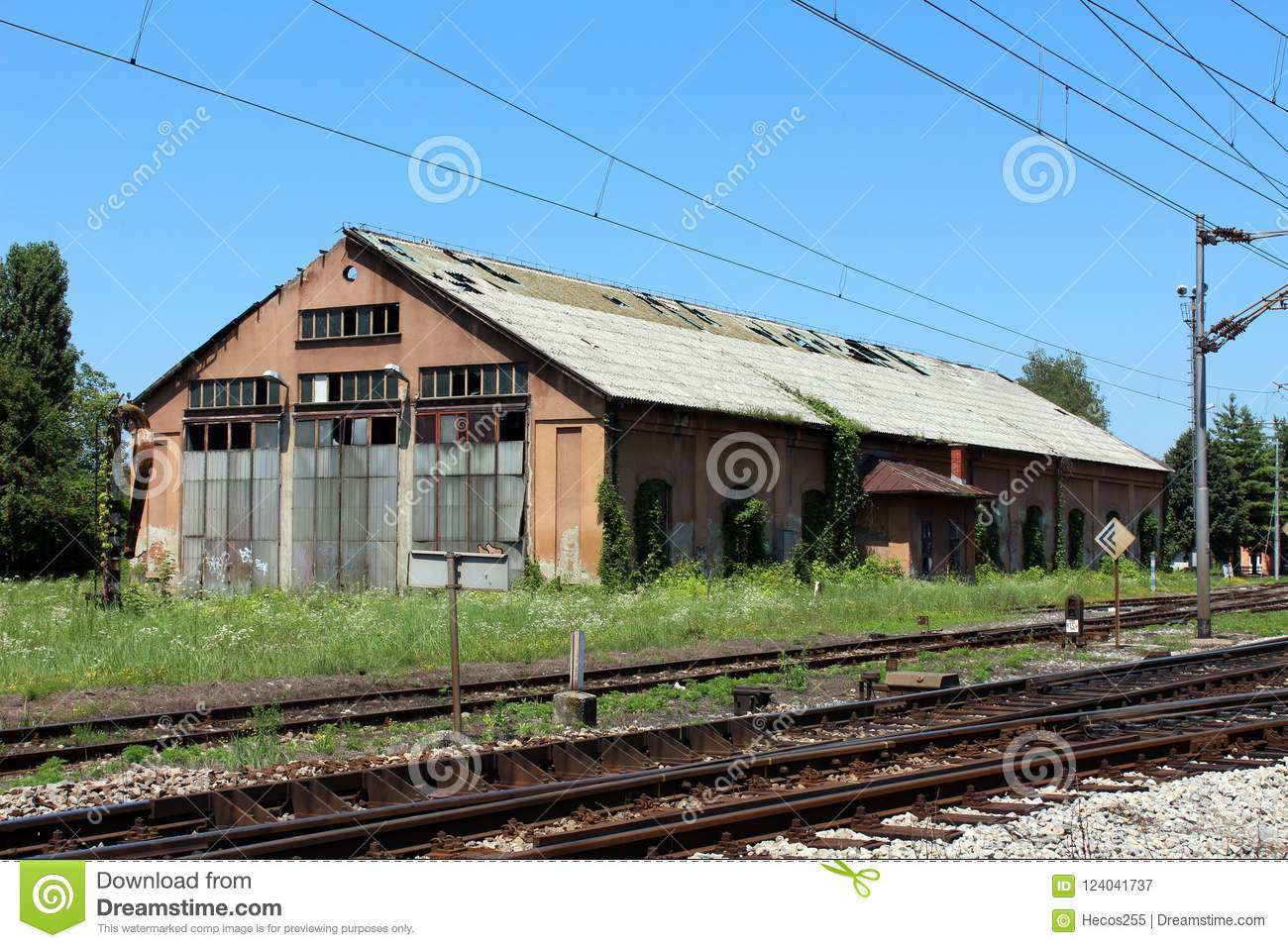 Dilapidated Abandoned Railway Station Building With ...
