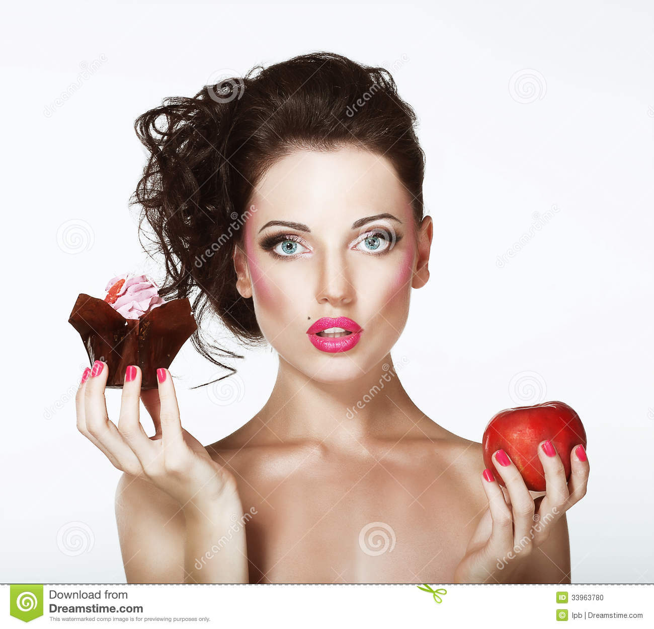 Download Dilemma. Diet. Undecided Woman With Apple And Cupcake Stock Photo - Image of apple, calories: 33963780